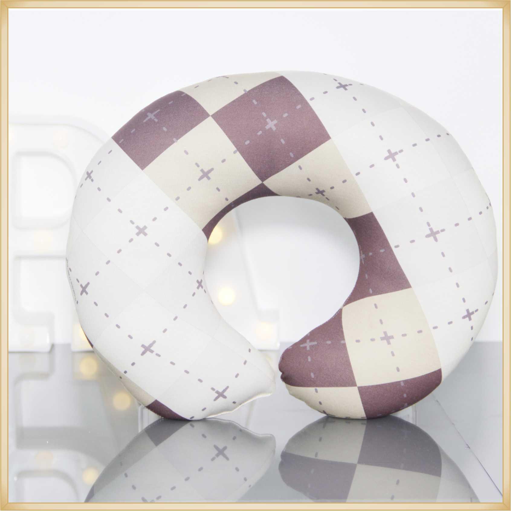 Almofadas de Pescoço Travesseiro para Viagem Quadriculada