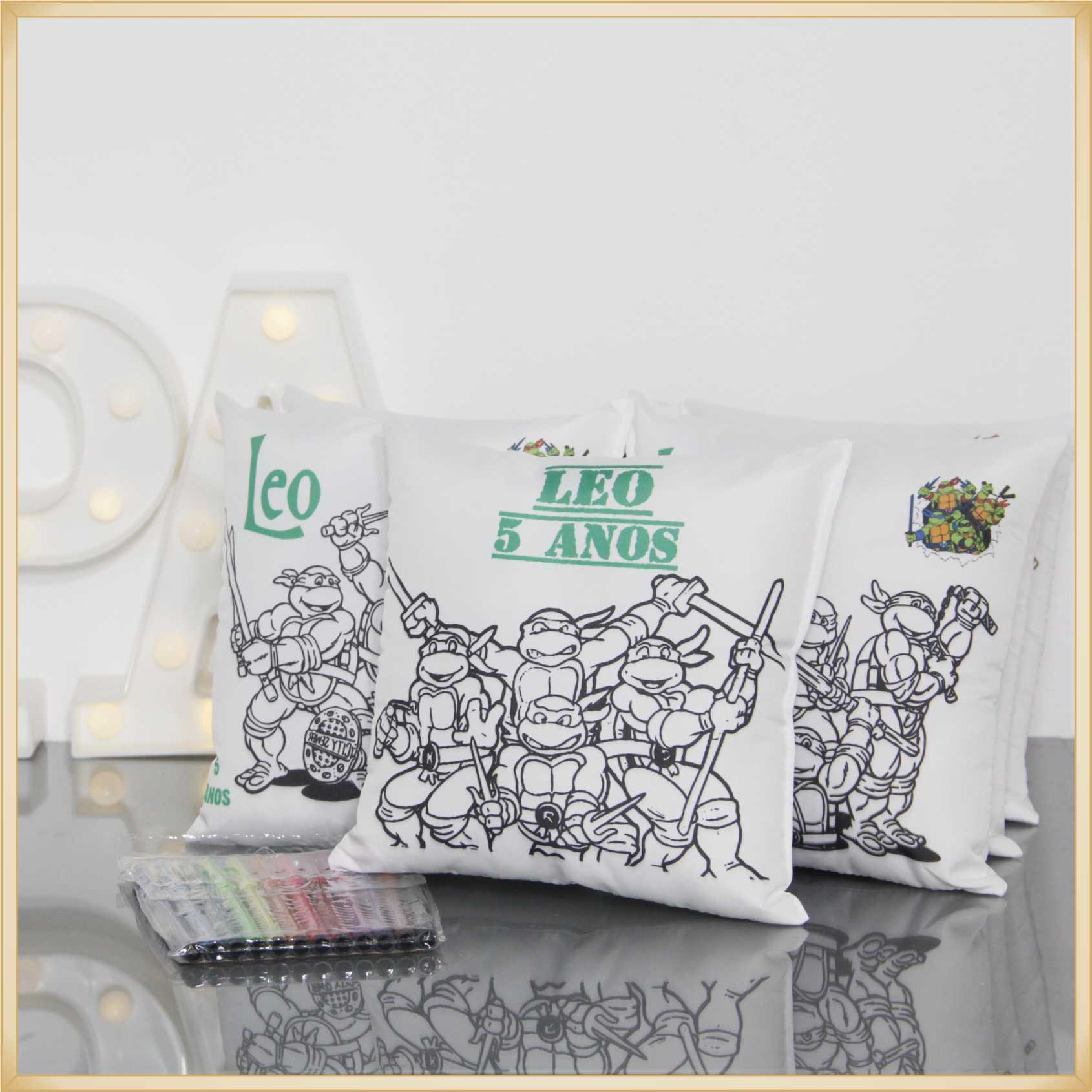 Almofadas para pintar personalizada aniversário infantil - Kit com 10