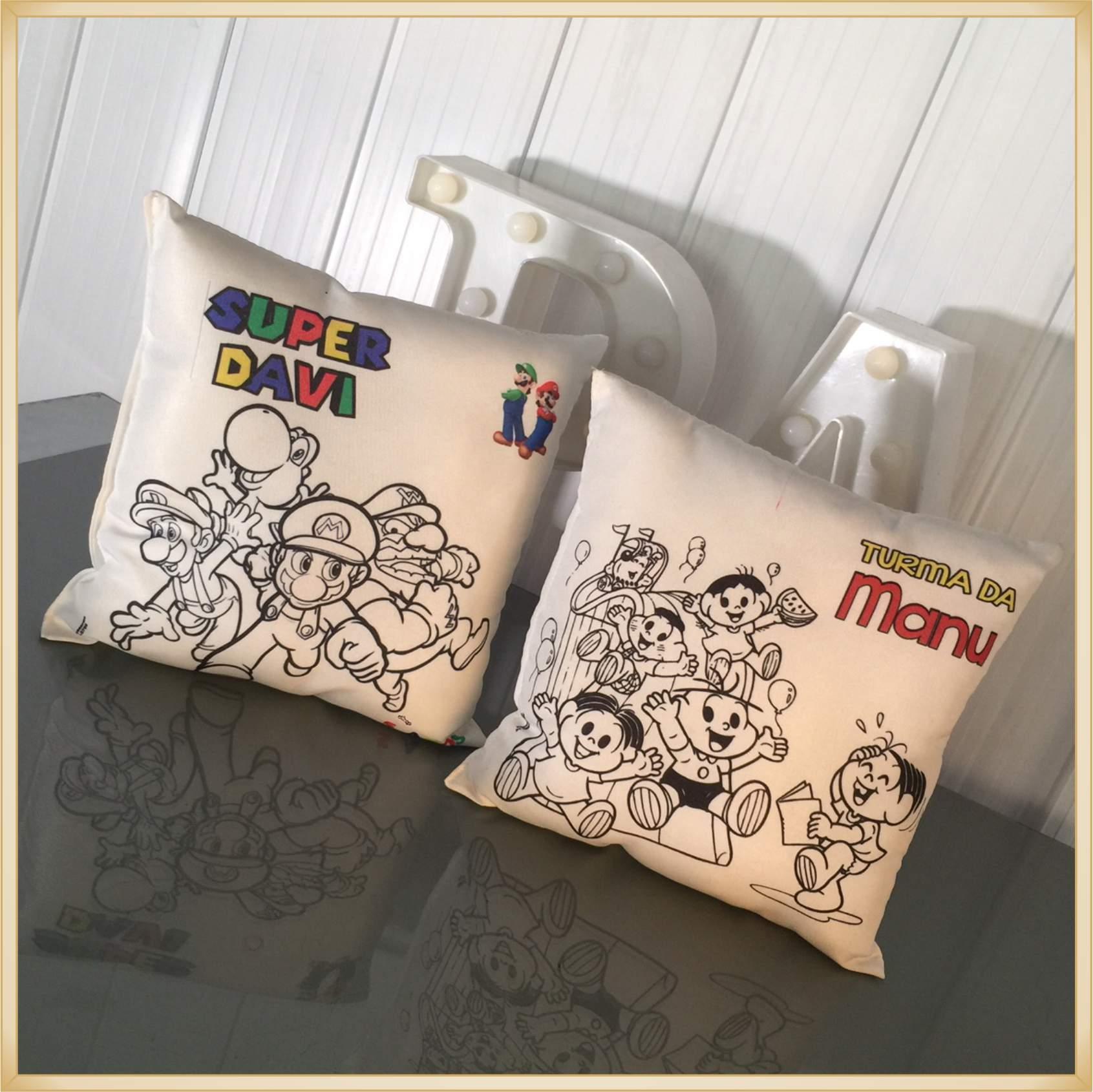 Almofadas para pintar personalizada aniversário infantil - Kit com 25
