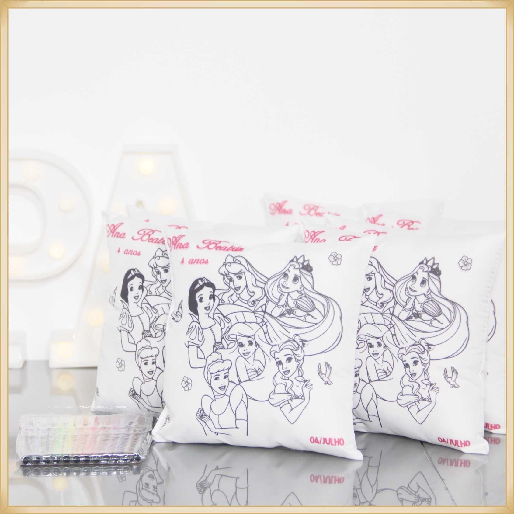 Almofadas para Pintar Personalizadas para lembrancinha aniversário brindes para colorir -Kit com 10 unidades Tamanho 30x30cm.