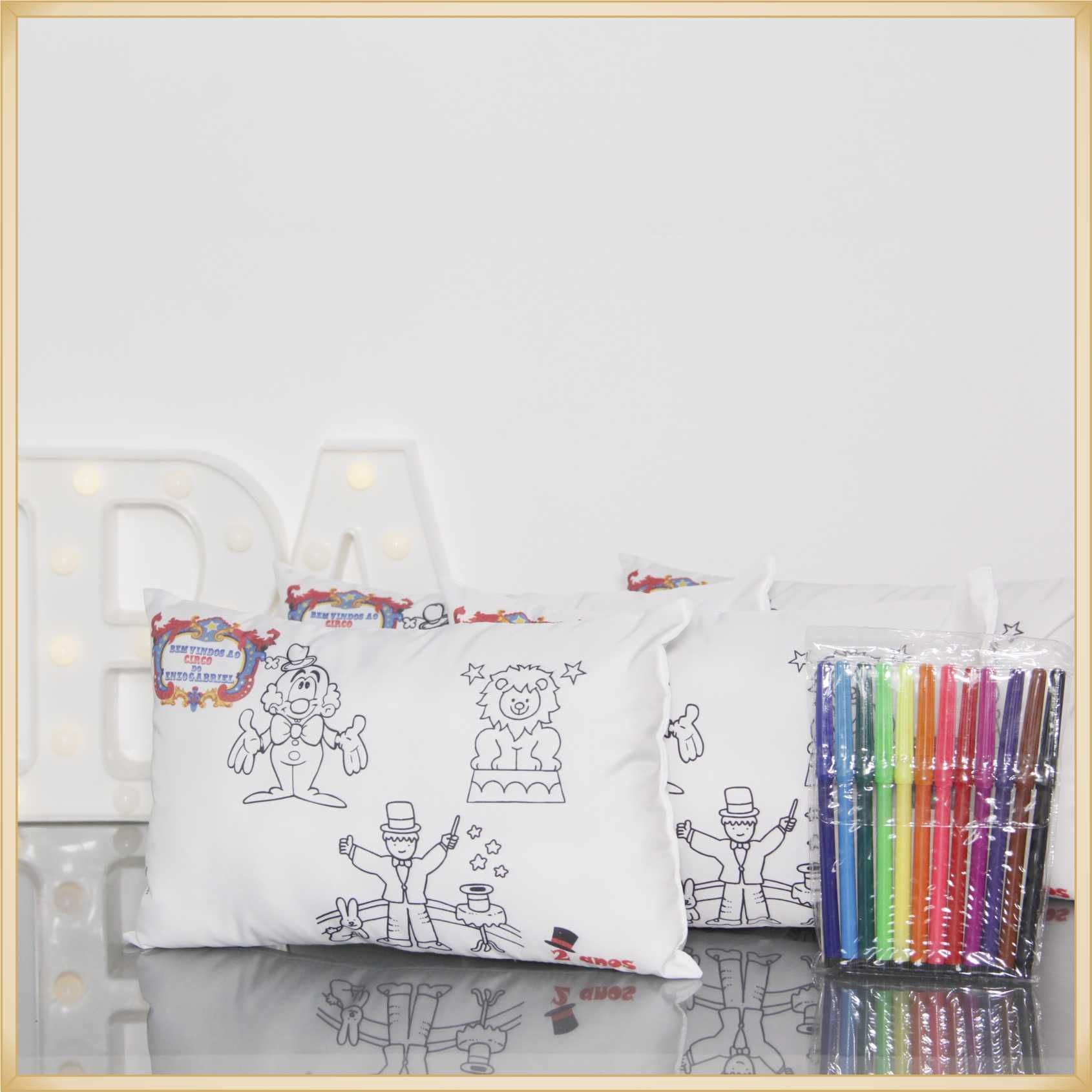 Almofadas para Pintar Personalizadas para lembrancinha de aniversário brindes de colorir - Kit com 15 unidades Tamanho 20x30cm.