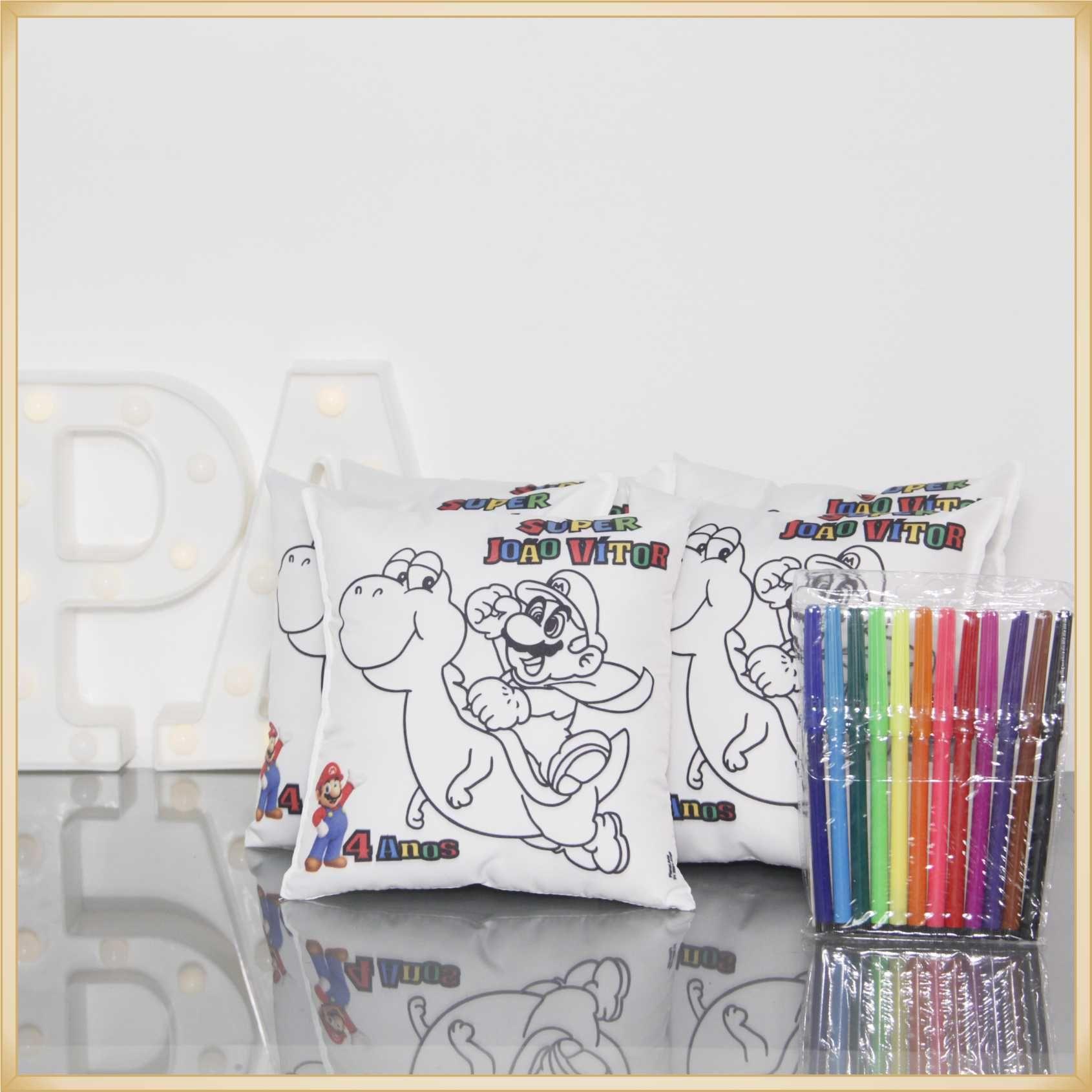 Almofadas para Pintar Personalizadas para lembrancinha de aniversário brindes de colorir para festa - Kit com 15 unidades Tamanho 30x30cm.