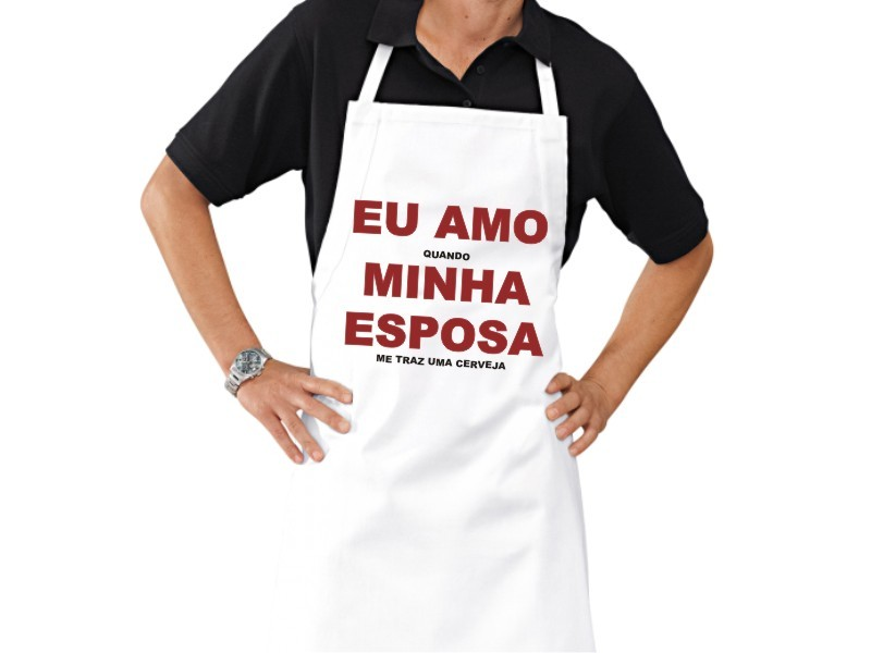Avental Personalizado de Cozinha Churrasco Amo Minha Esposa