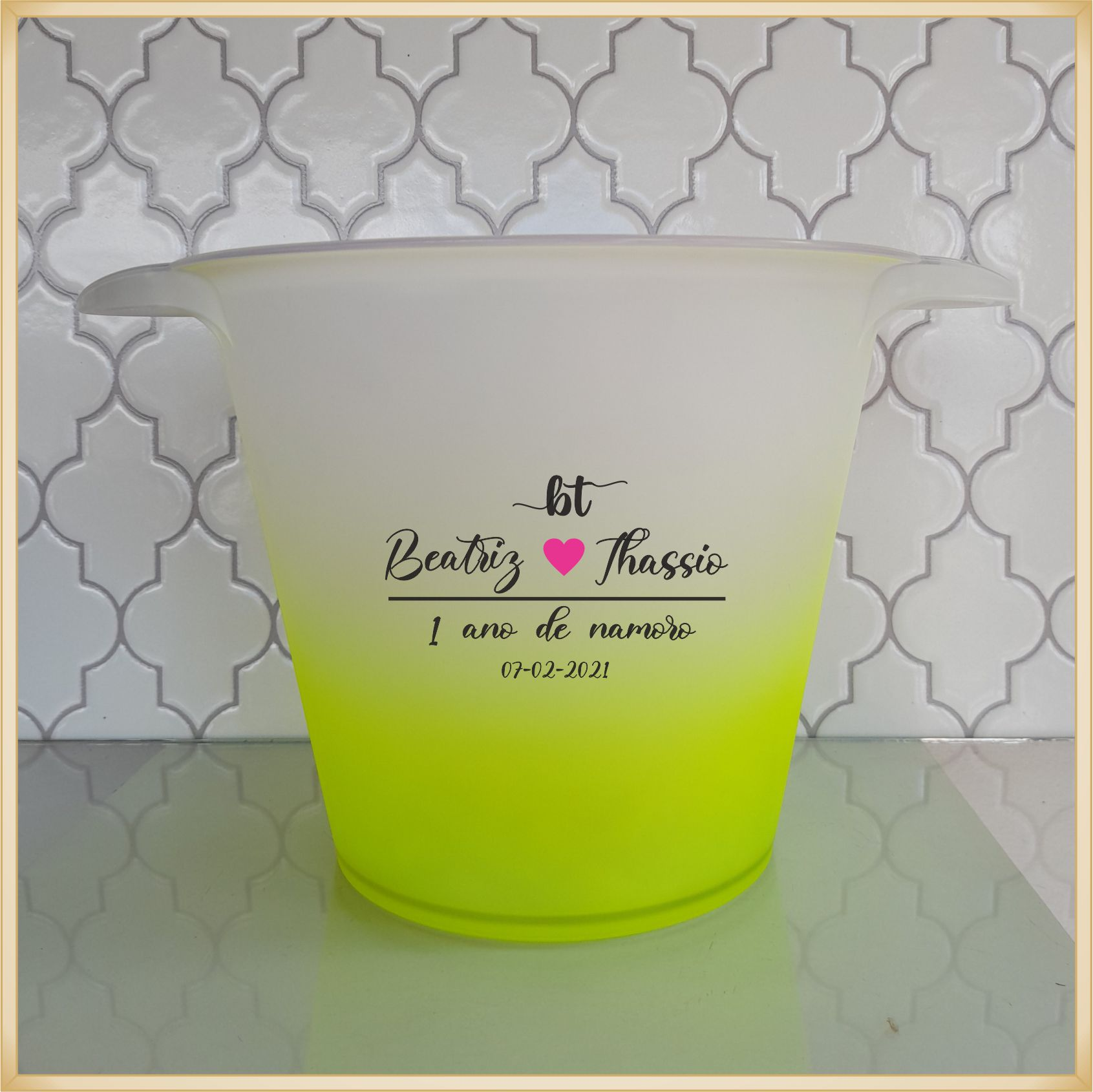 Balde de gelo personalizado 5 litros - Produto de alta qualidade, paredes reforçadas sem riscos e rebarbas, estampa digital e colorida