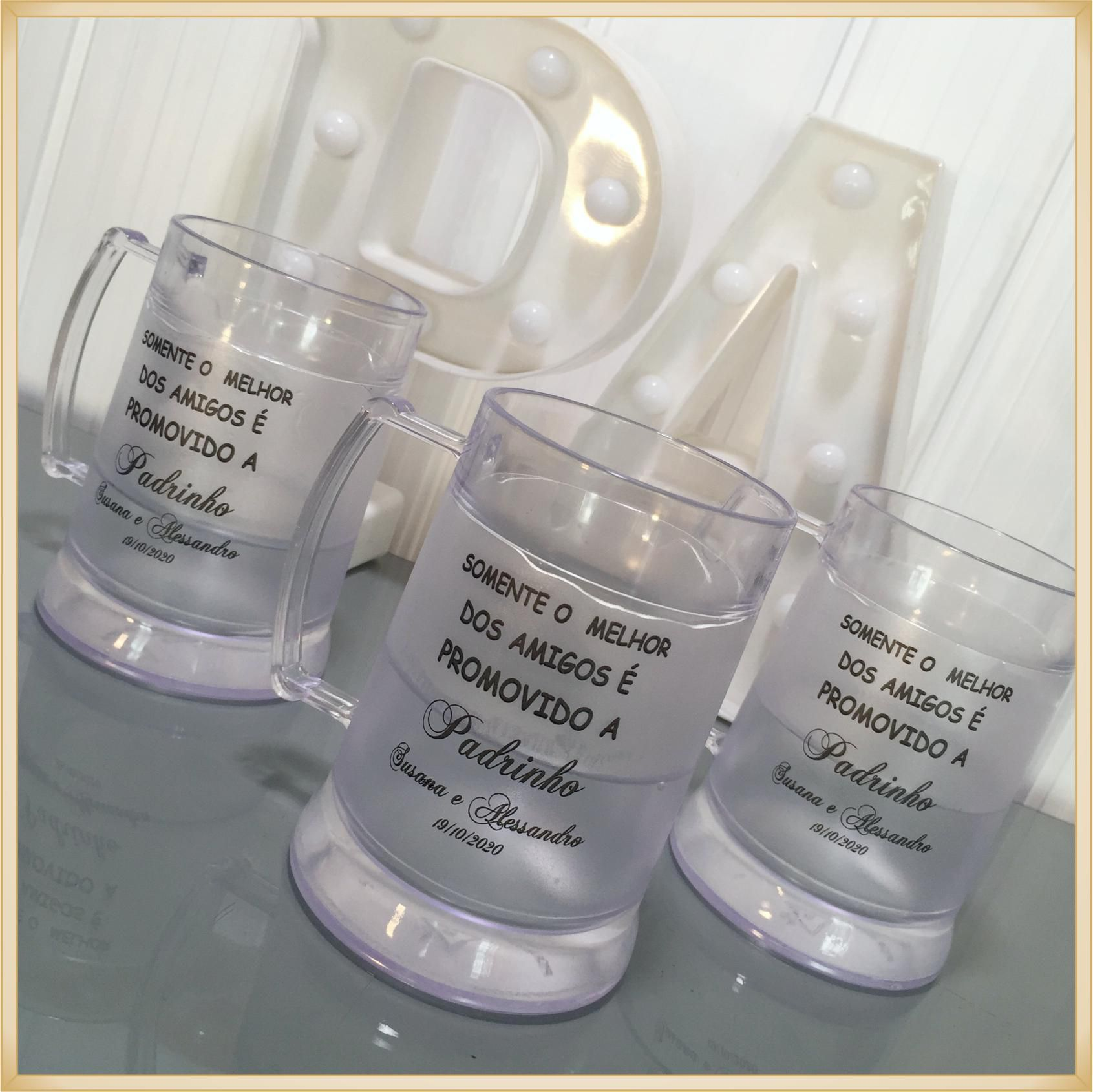 Caneca de gel personalizada Casamento - acrílico de qualidade, ótimo acabamento, sistema de congelamento, parede dupla, 340 ml.