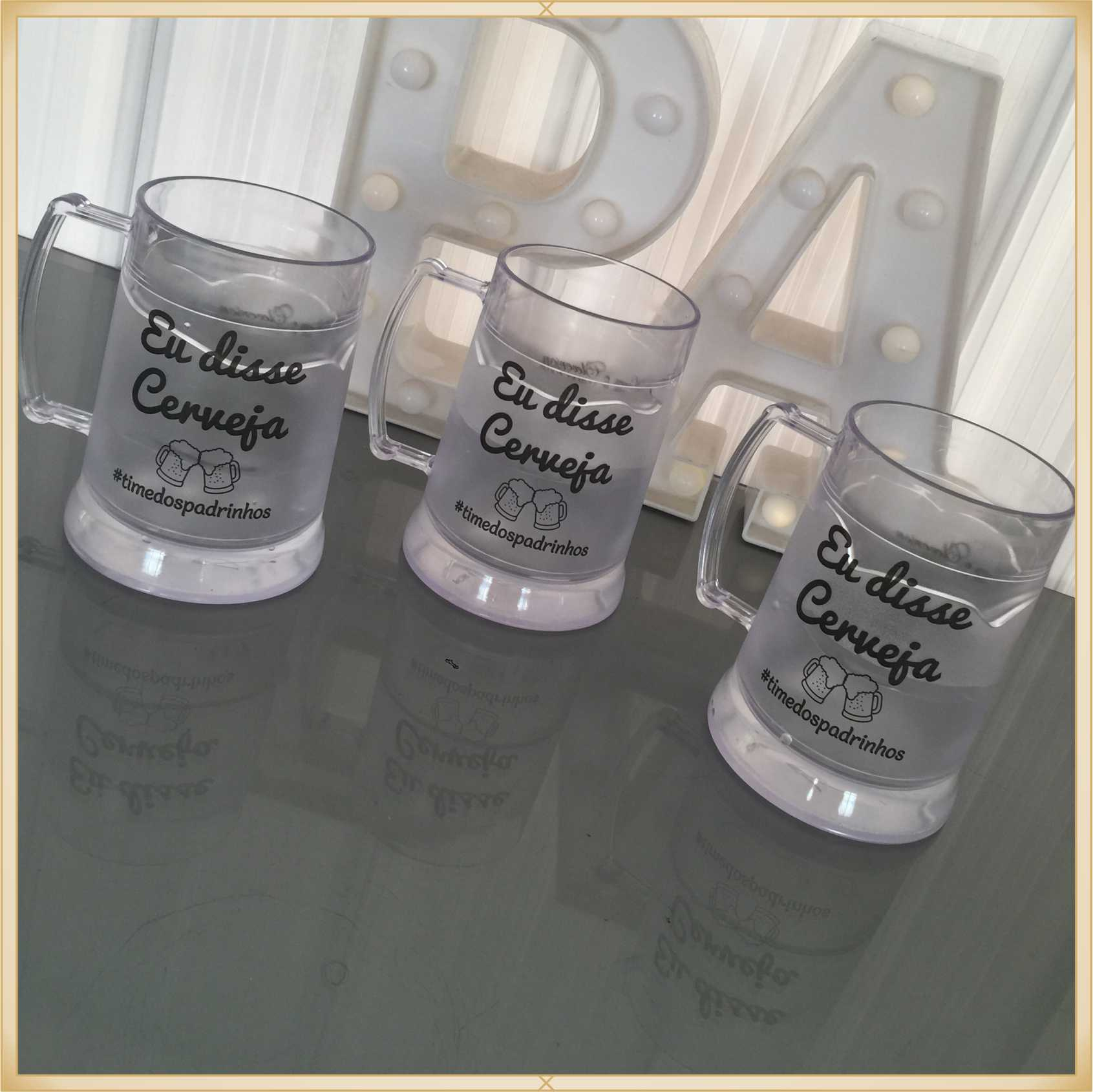 Caneca de gel personalizada padrinhos Casamento - acrílico de qualidade, ótimo acabamento, sistema de congelamento, parede dupla, 340 ml.