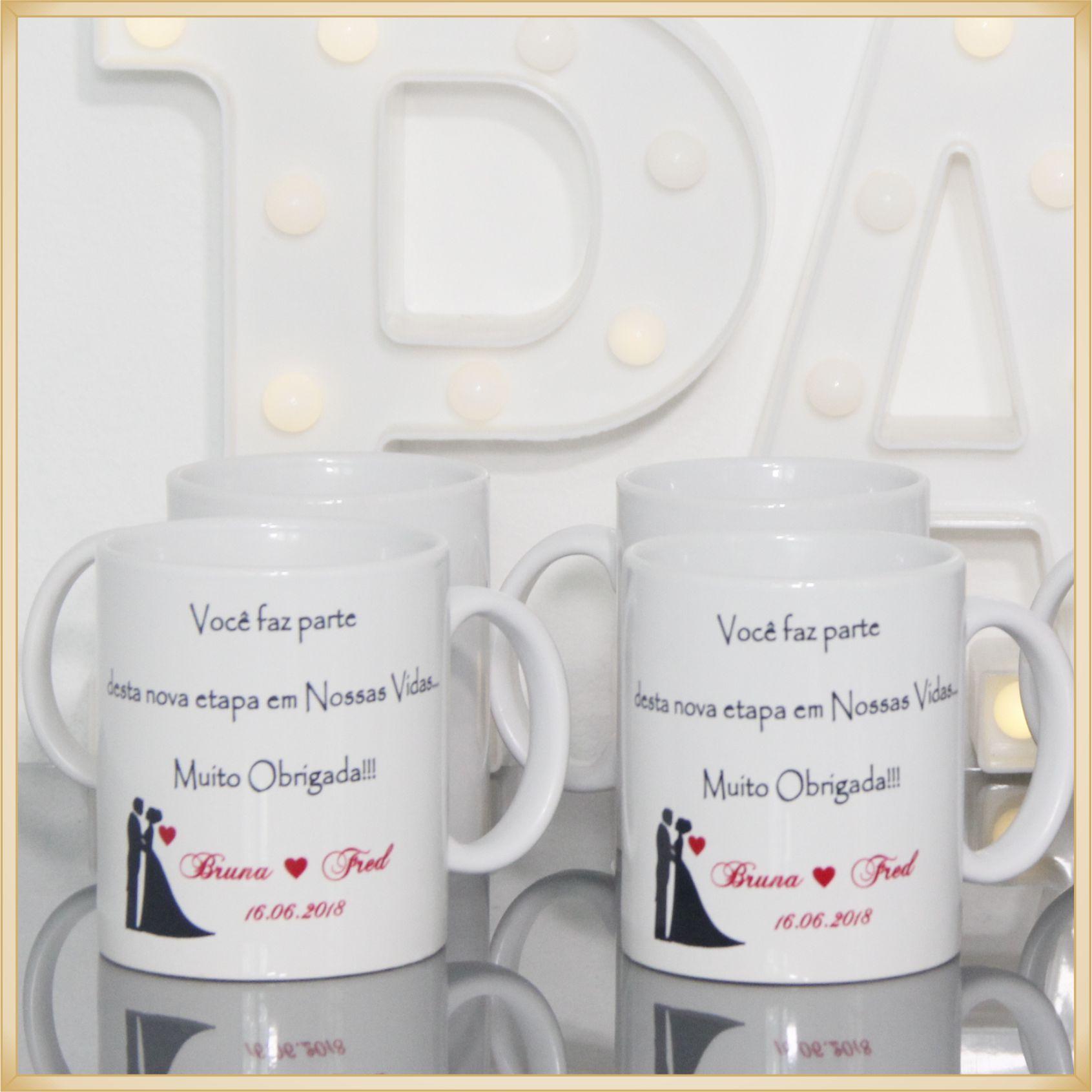 Canecas de porcelana personalizadas casamento padrinhos - alta qualidade, cores vivas, acabamento perfeito, alças confortáveis, 325 ml. - kit 20 unid.