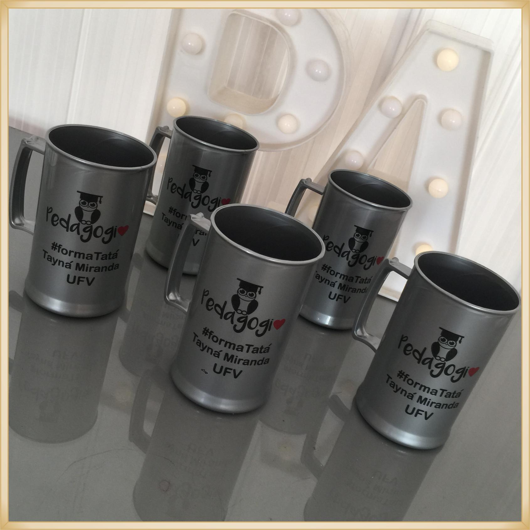 Canecas de acrílico personalizadas - alta qualidade, acabamento perfeito, parede de 2,5 mm, material atóxico, 300 ml - kit 100 unidades