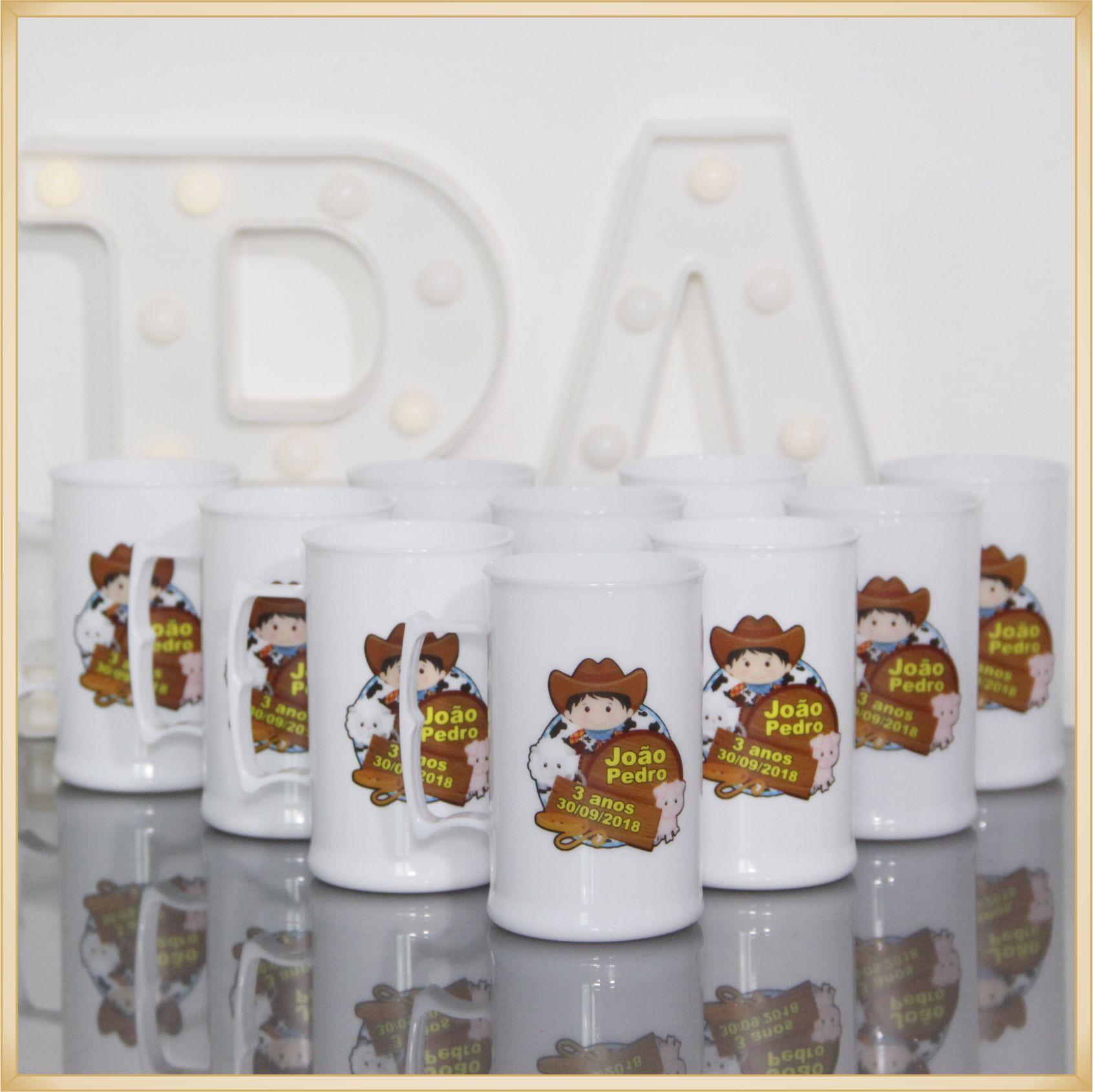 Canecas de acrílico personalizadas aniversário - alta qualidade, acabamento perfeito, parede de 2,5 mm, material atóxico, 300 ml - kit 50 unidades