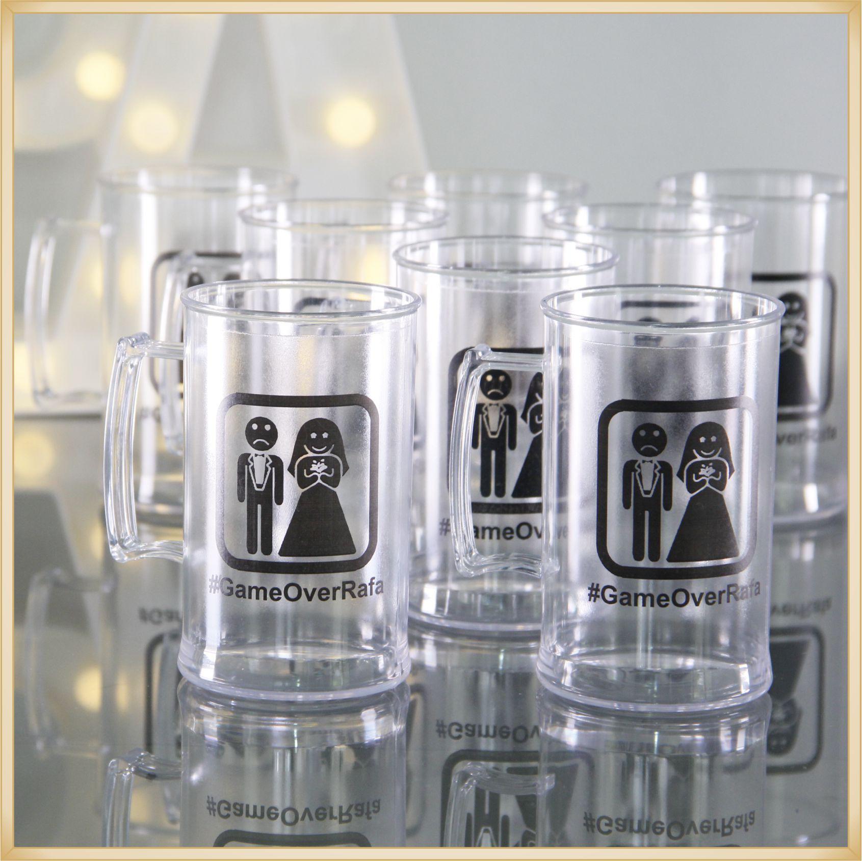 Canecas de acrílico personalizadas de Casamento - alta qualidade, acabamento perfeito, parede de 2,5 mm, material atóxico, 300 ml - kit 100 unidades