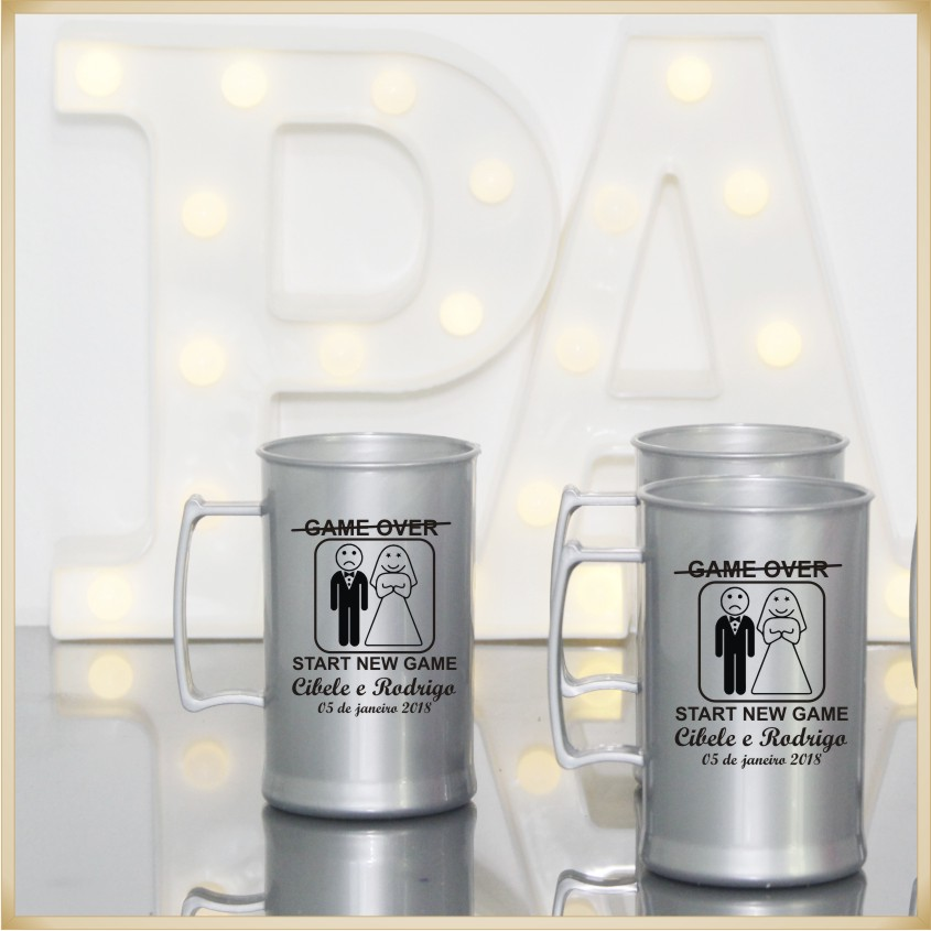 Canecas de acrílico personalizadas de Casamento - alta qualidade, acabamento perfeito, parede de 2,5 mm, material atóxico, 300 ml - kit 30 unidades
