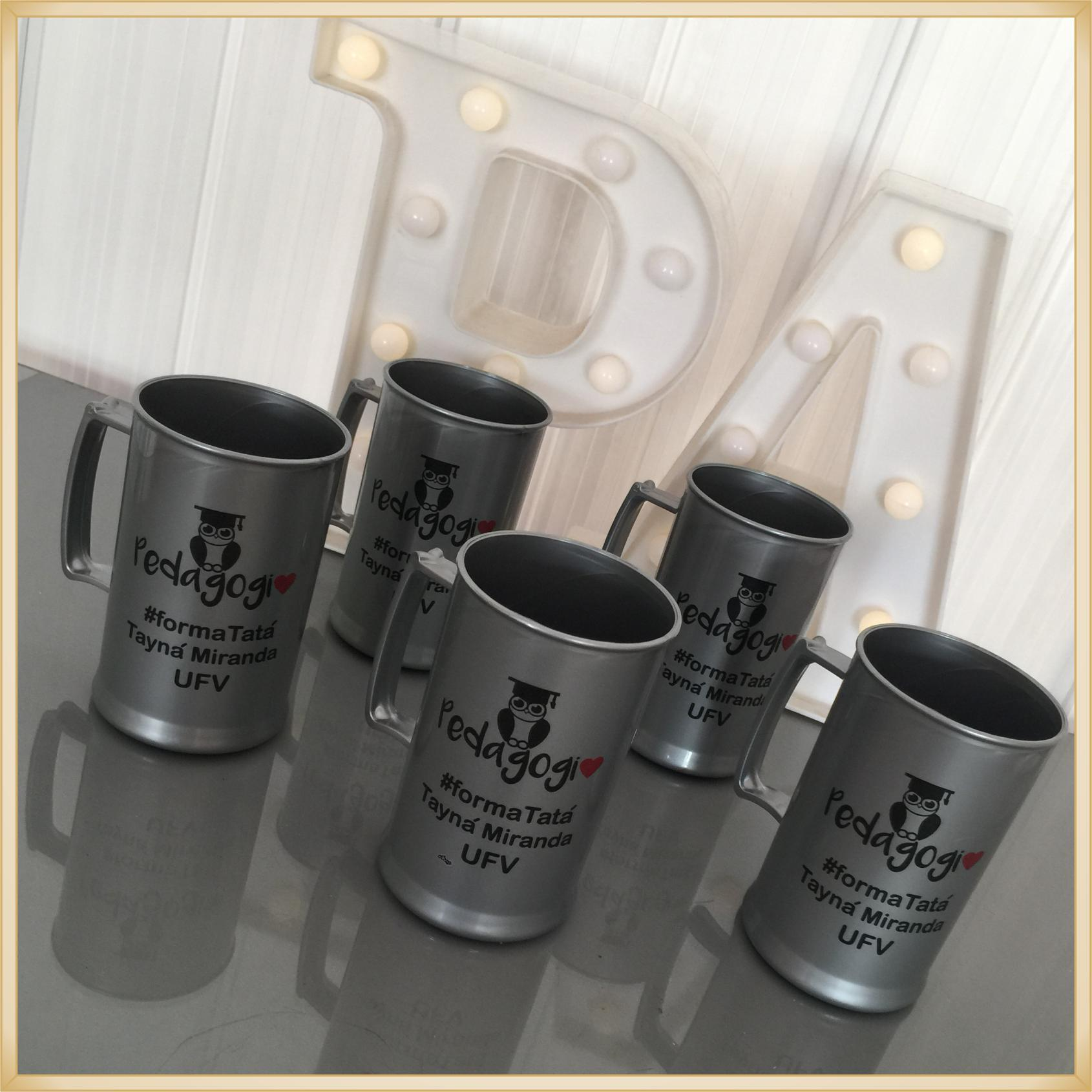 Canecas de acrílico personalizadas Formatura - alta qualidade, acabamento perfeito, parede de 2,5 mm, material atóxico, 300 ml - kit 30 unidades