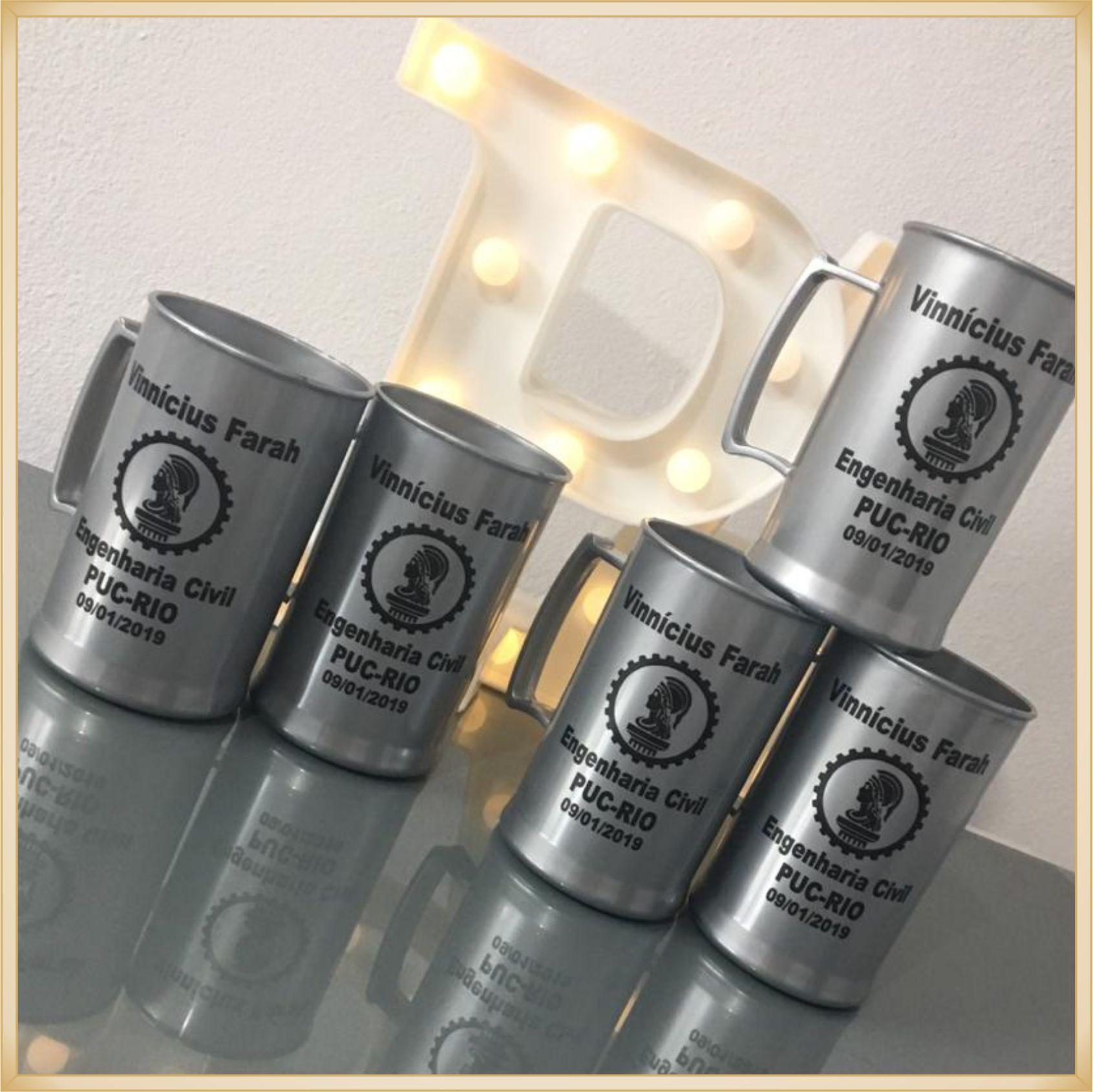 Canecas de acrílico personalizadas Formatura - alta qualidade, acabamento perfeito, parede de 2,5 mm, material atóxico, 300 ml - kit 100 unidades
