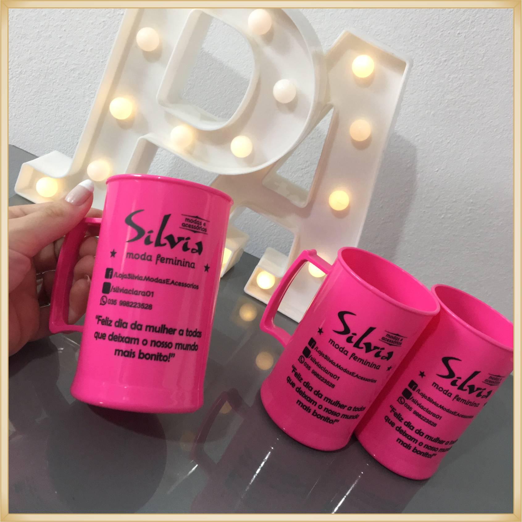 Canecas de acrílico personalizadas para empresas - alta qualidade, acabamento perfeito, parede de 2,5 mm, material atóxico, 300 ml - kit 50 unidades