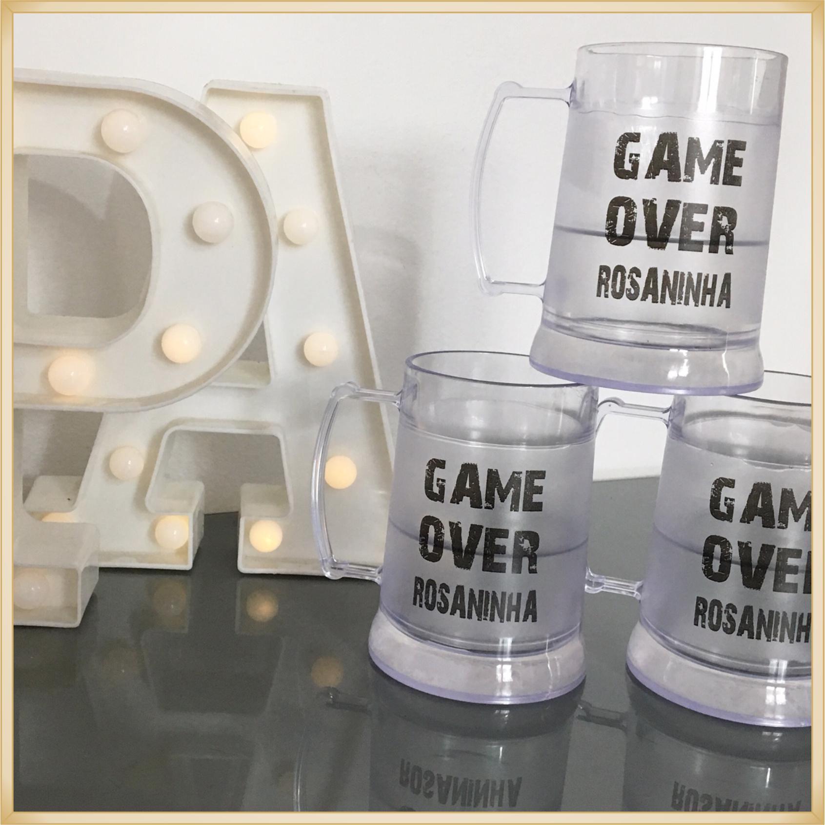 Canecas de gel personalizadas Casamento - acrílico de qualidade, ótimo acabamento, sistema de congelamento, parede dupla, 340 ml - kit 15 unidades.