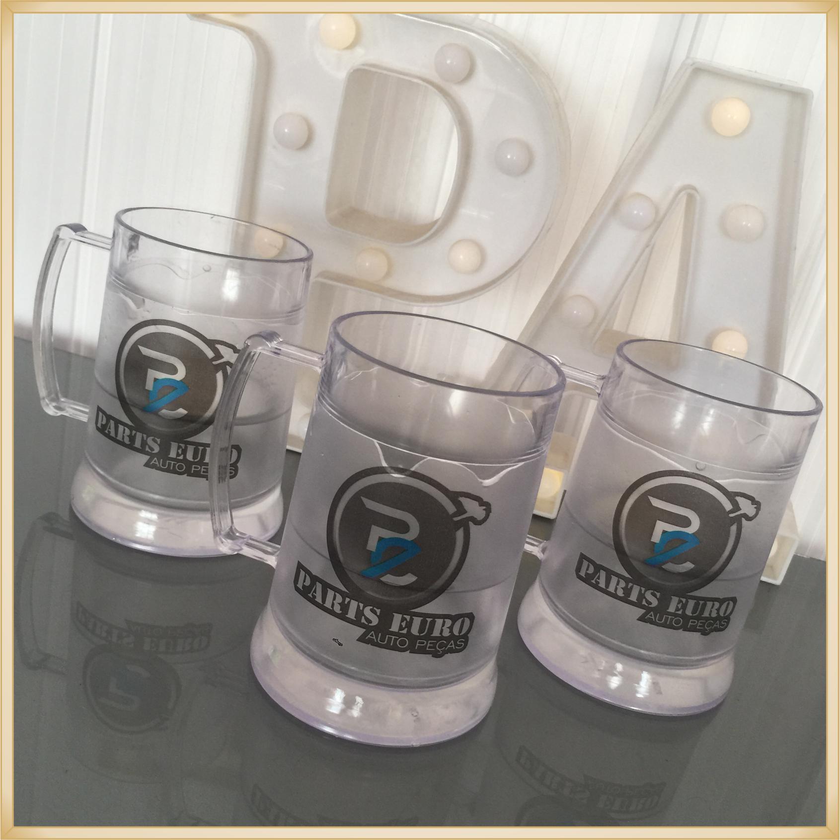 Canecas de gel personalizadas - acrílico qualidade, ótimo acabamento, sistema de congelamento, parede dupla, 300 ml. - kit 50 unidades