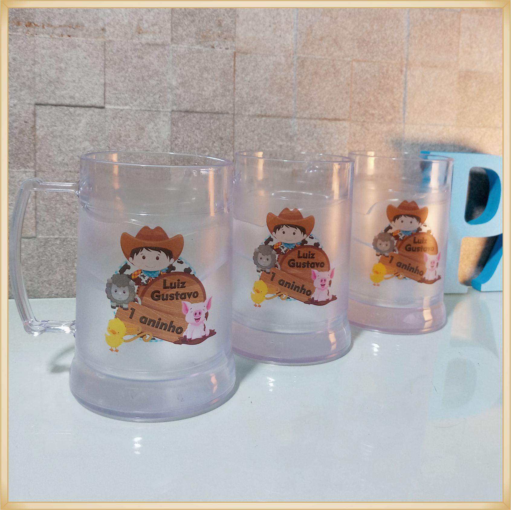 Canecas de gel personalizadas - acrílico qualidade, ótimo acabamento, sistema de congelamento, parede dupla, 300 ml. - kit 20 unidades