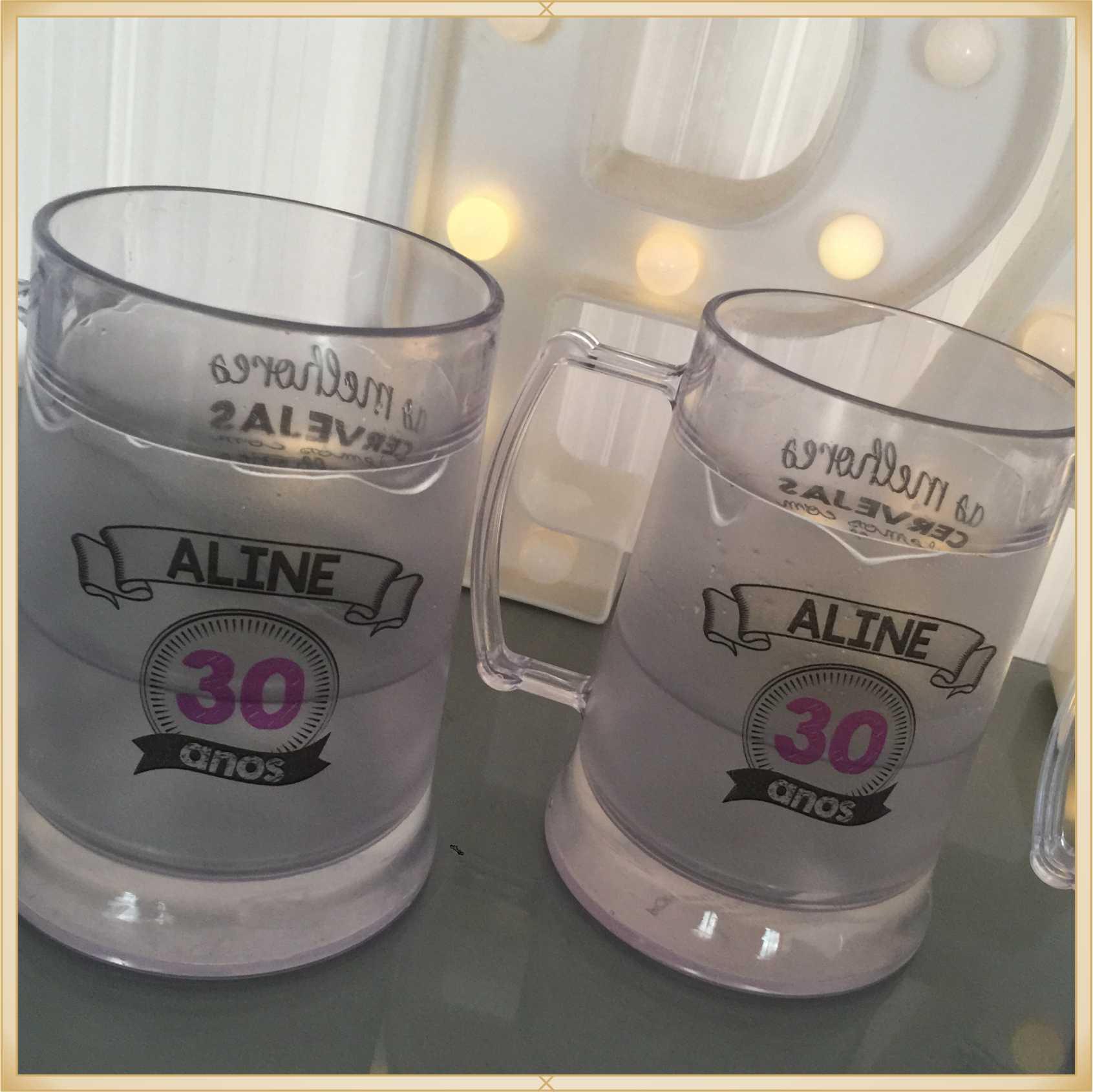 Canecas de gel personalizadas Aniversário - acrílico qualidade, ótimo acabamento, sistema de congelamento, parede dupla, 300 ml. - kit 10 unidades