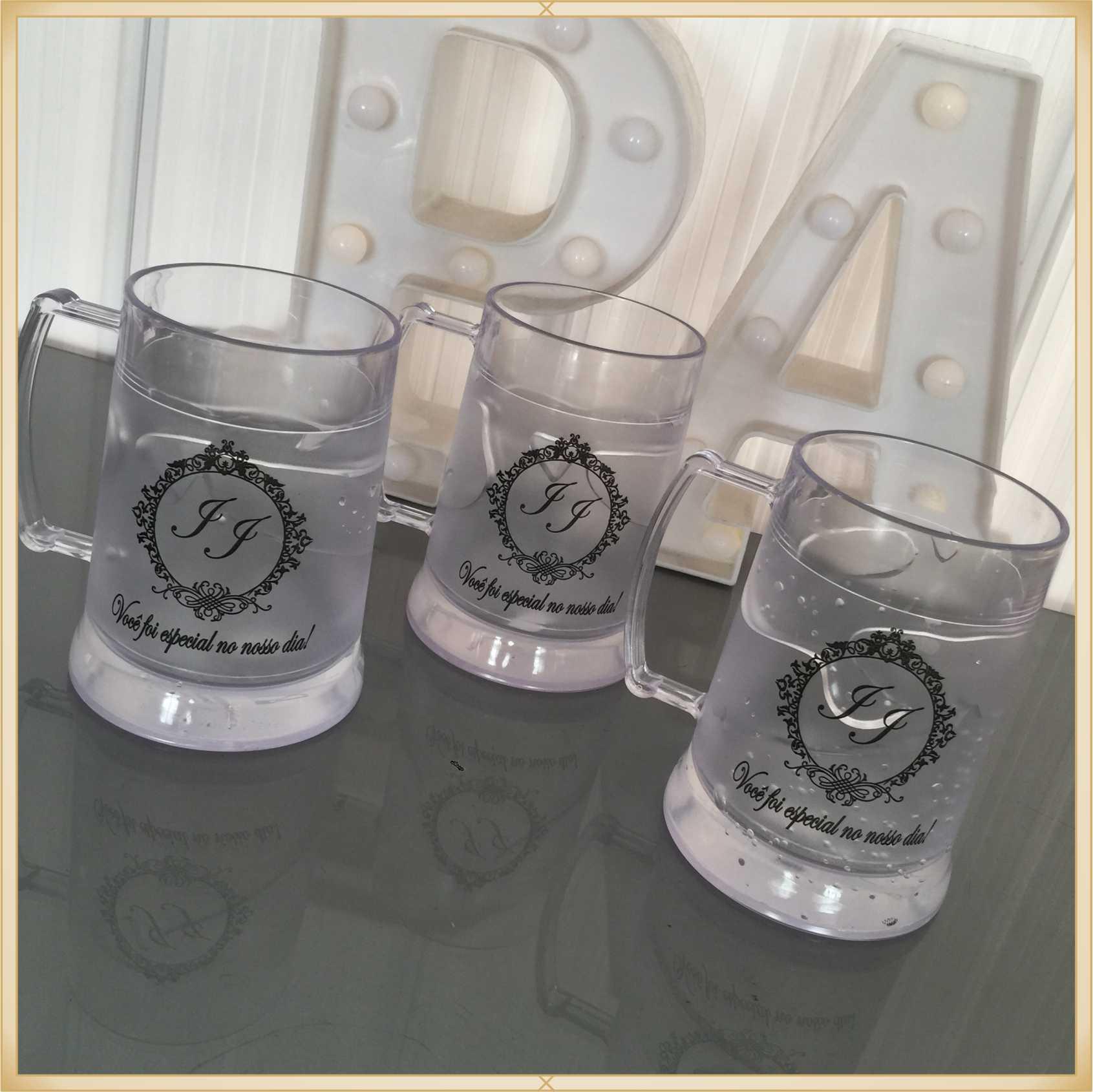 Canecas de gel personalizadas Casamento - acrílico de qualidade, ótimo acabamento, sistema de congelamento, parede dupla, 340 ml - kit 30 unidades.