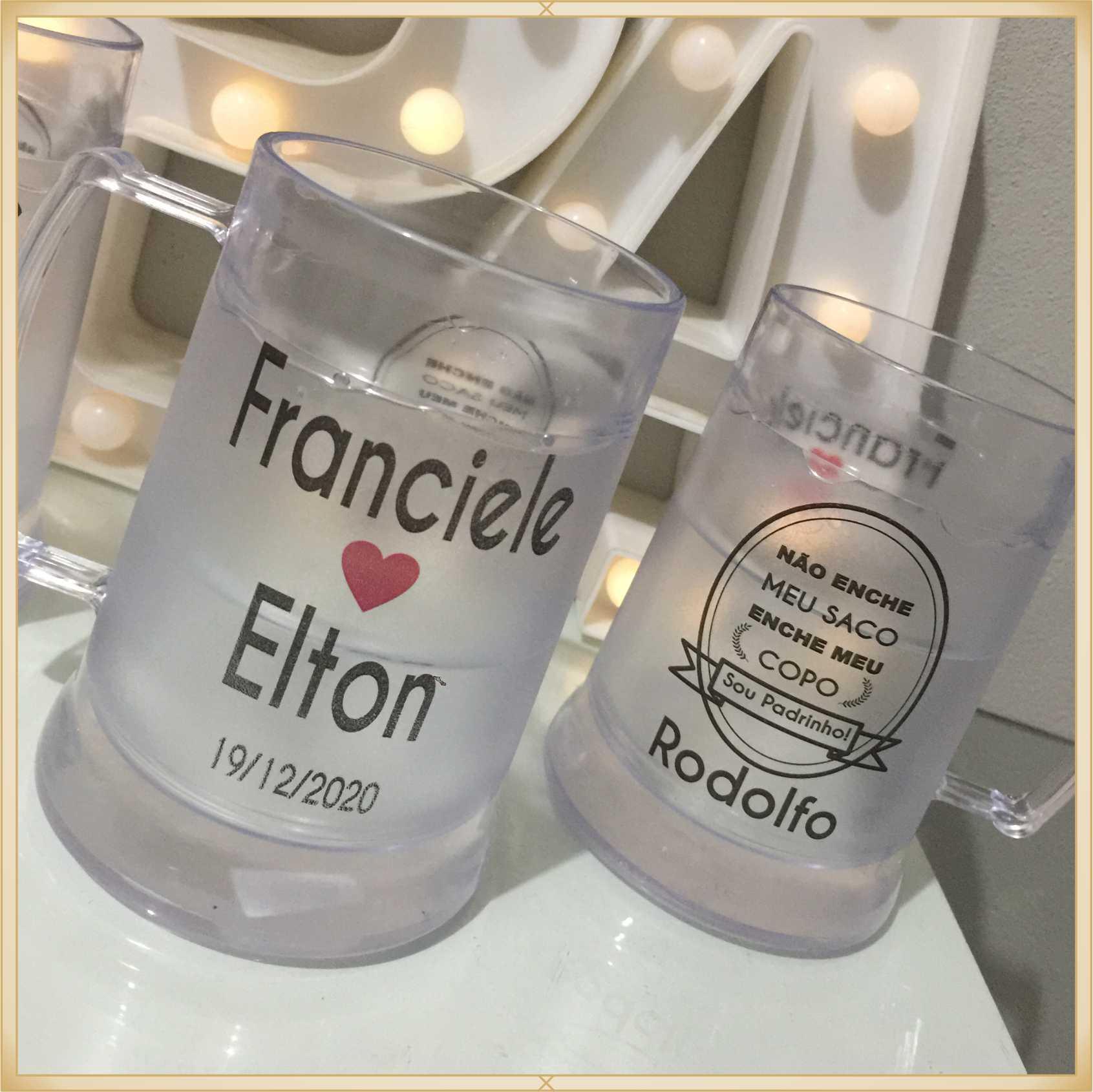 Canecas de gel personalizadas Casamento - acrílico de qualidade, ótimo acabamento, sistema de congelamento, parede dupla, 340 ml - kit 10 unidades.