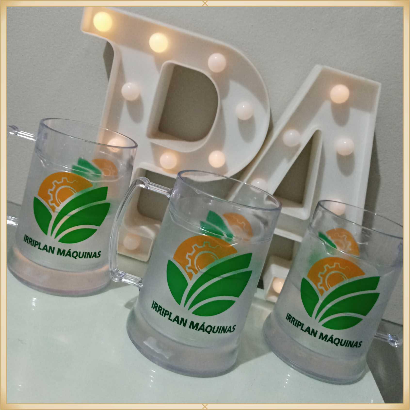 Canecas de gel personalizadas empresa - acrílico qualidade, ótimo acabamento, sistema de congelamento, parede dupla, 300 ml. - kit 10 unidades
