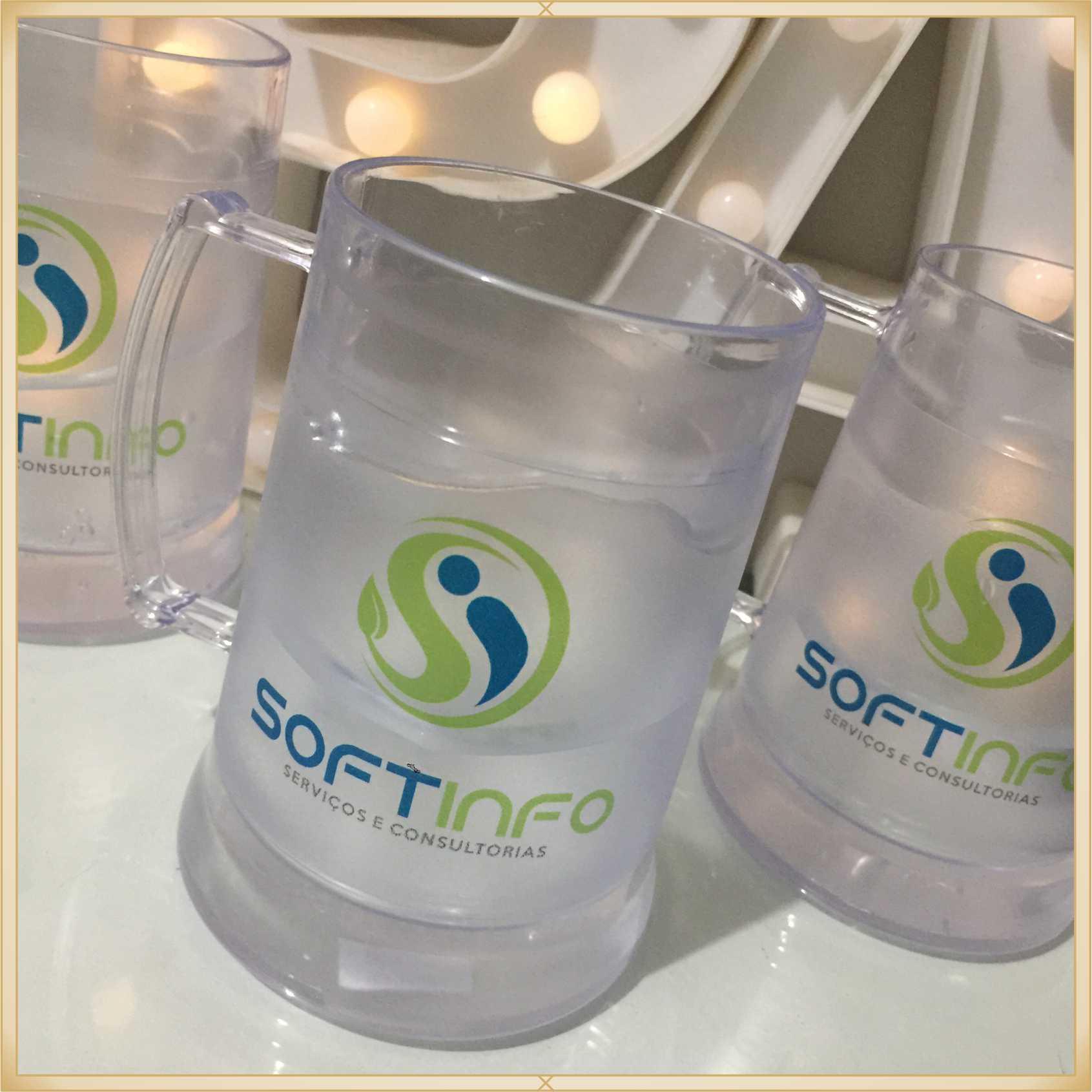 Canecas de gel personalizadas empresa - acrílico qualidade, ótimo acabamento, sistema de congelamento, parede dupla, 340 ml. - kit 20 unidades