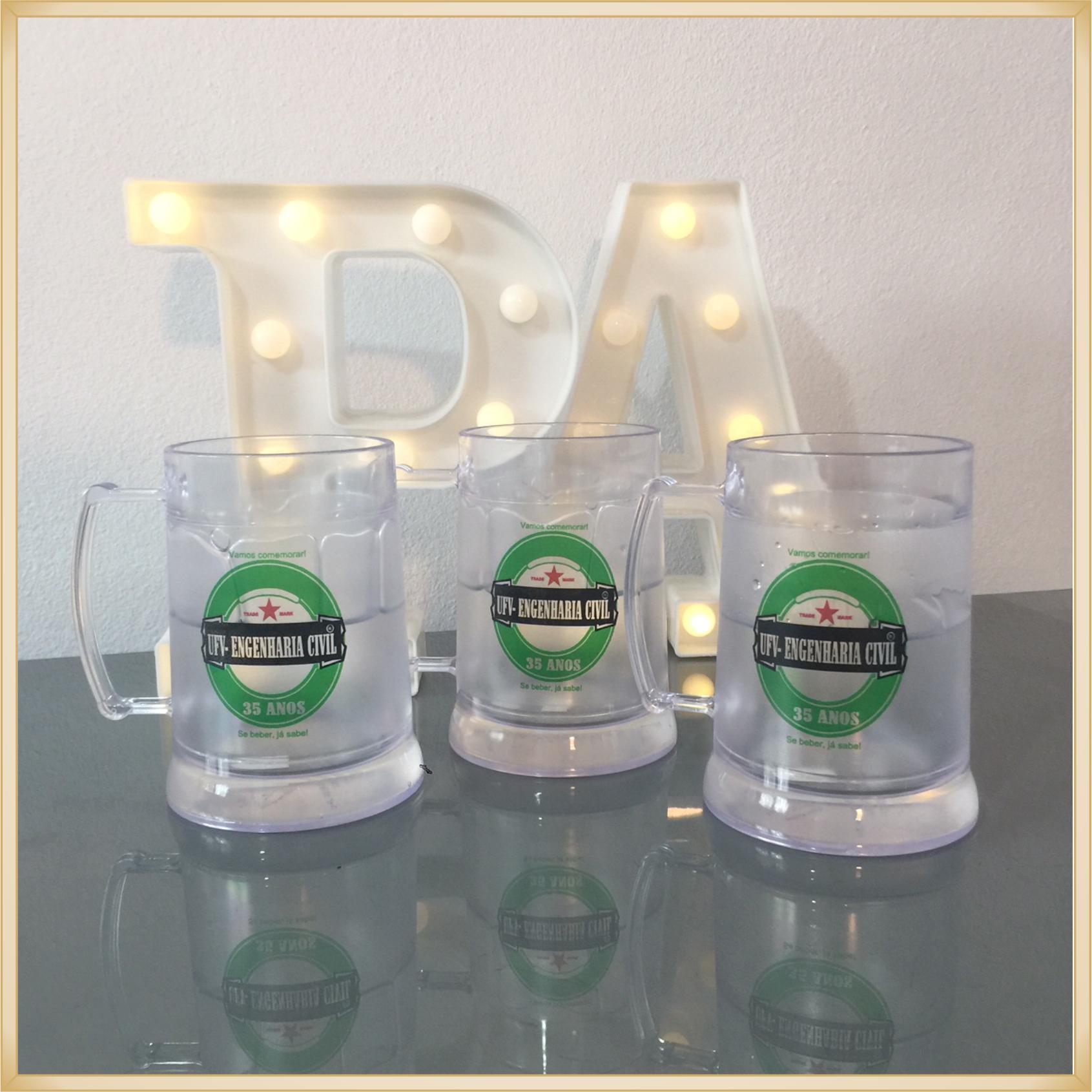 Canecas de gel personalizadas Formatura - acrílico qualidade, ótimo acabamento, sistema de congelamento, parede dupla, 340 ml. - kit 30 unidades