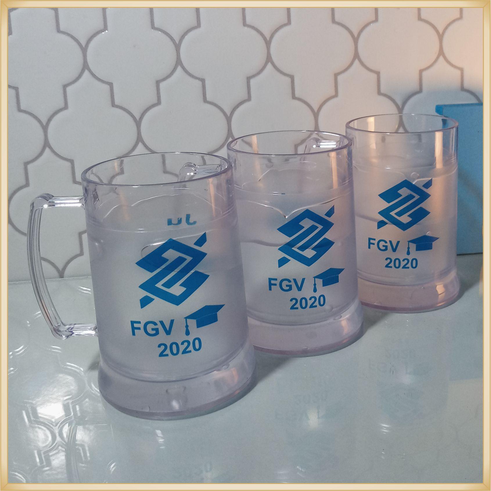 Canecas de gel personalizadas Formatura - acrílico qualidade, ótimo acabamento, sistema de congelamento, parede dupla, 300 ml. - kit 10 unidades