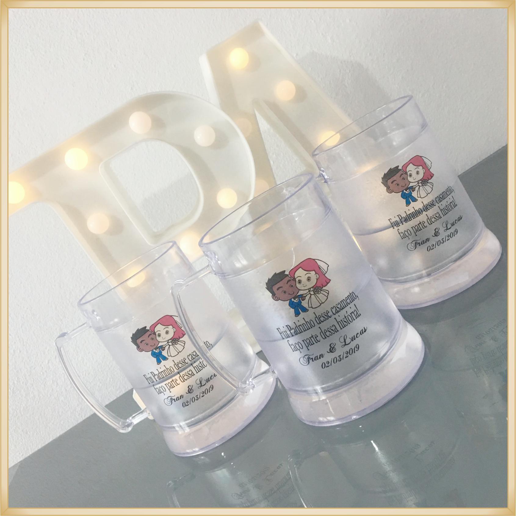 Canecas de gel personalizadas - acrílico qualidade, ótimo acabamento, sistema de congelamento, parede dupla, 300 ml. - kit 10 unidades