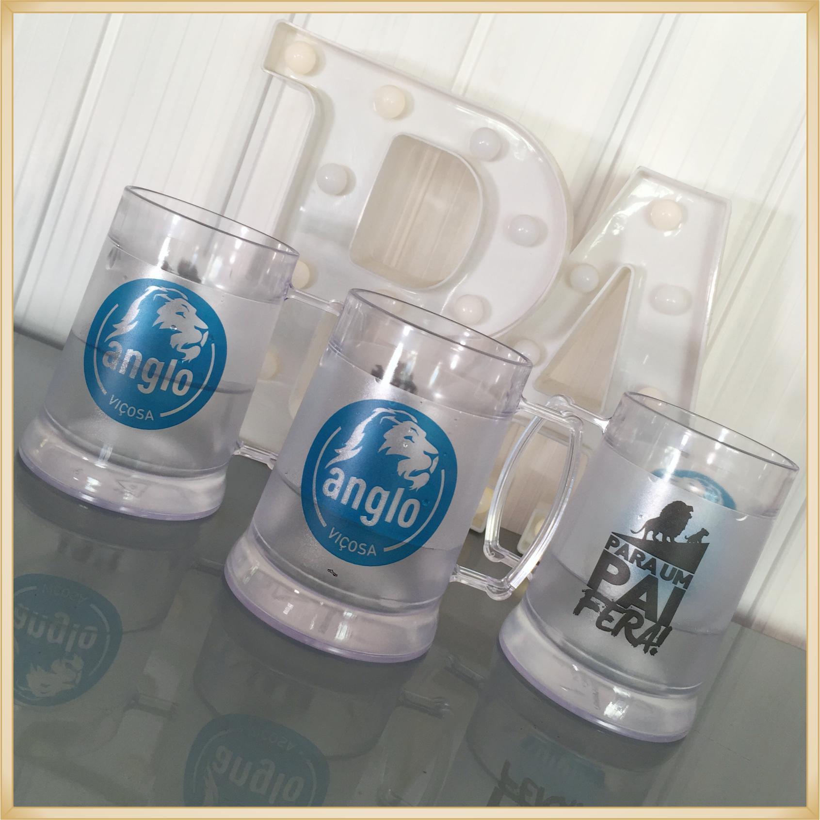 Canecas de gel personalizadas - acrílico qualidade, ótimo acabamento, sistema de congelamento, parede dupla, 340 ml. - kit 40 unidades
