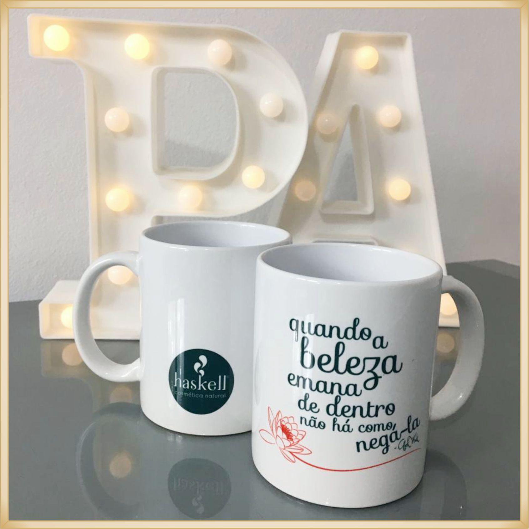 Canecas de porcelana personalizadas empresas clientes - alta qualidade, cores vivas, acabamento perfeito, alças confortáveis, 325 ml. - kit 20 unid.