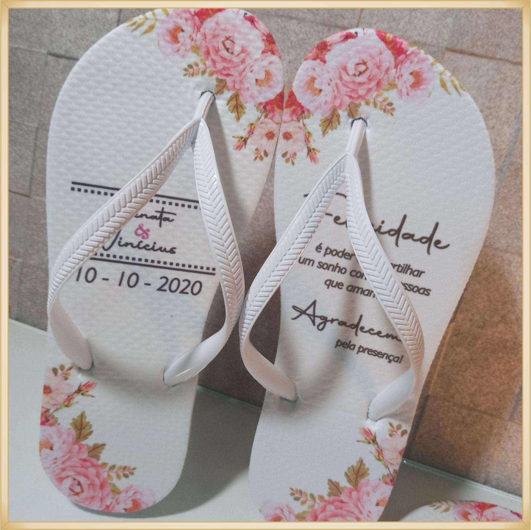 Chinelos personalizado de Casamento - solado confortável, correia sem rebarba, estampa de qualidade, cores super vivas, ótimo acabamento - kit 10 unid