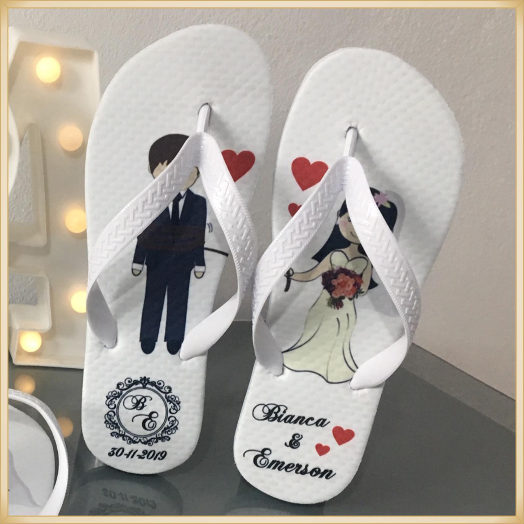 Chinelos personalizado de Casamento - solado confortável, correia sem rebarba, estampa de qualidade, cores super vivas, ótimo acabamento - kit 20 unid