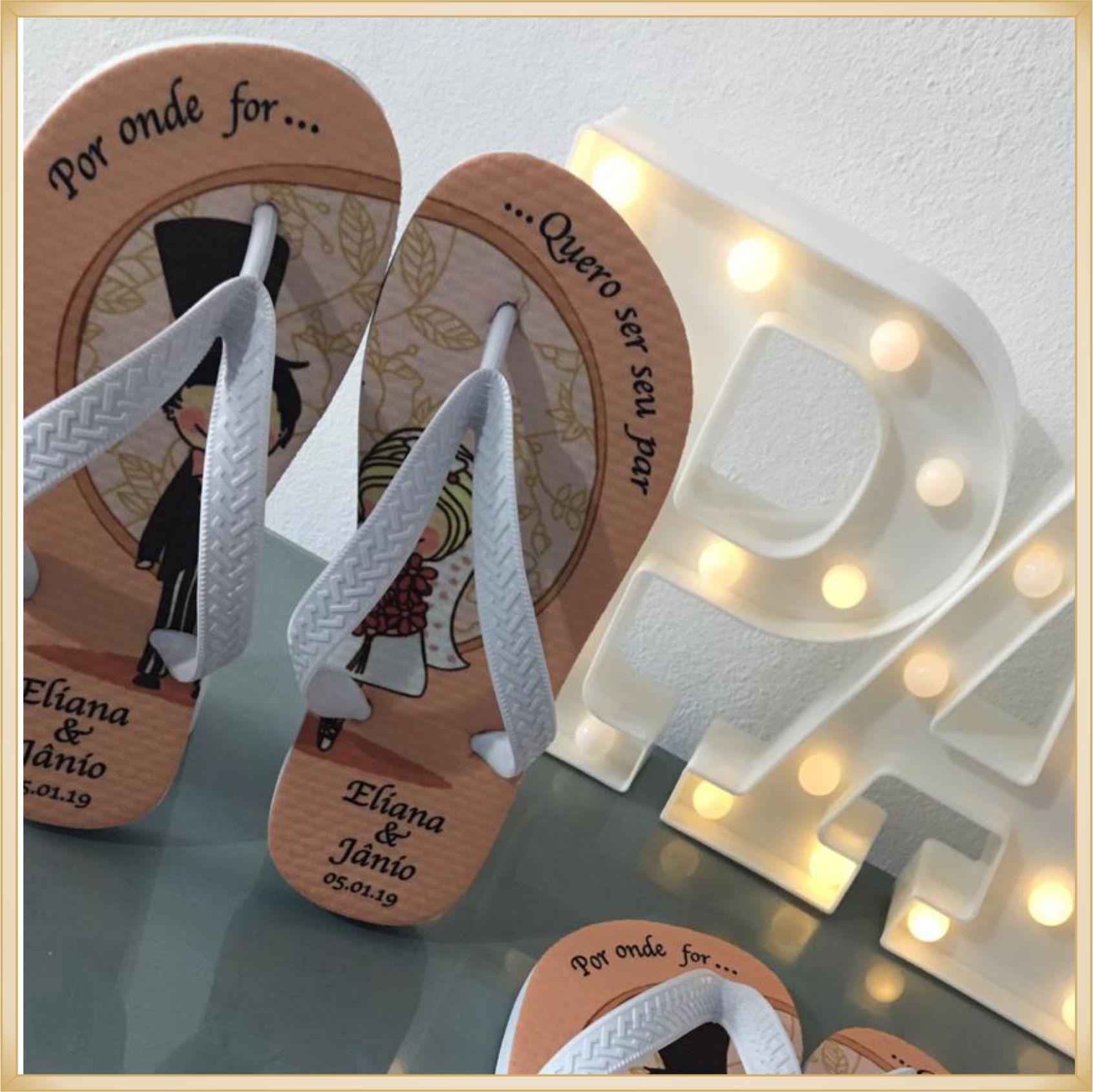 Chinelo personalizado para Casamento - solado confortável, correia sem rebarbas, estampa de qualidade, cores super vivas, ótimo acabamento