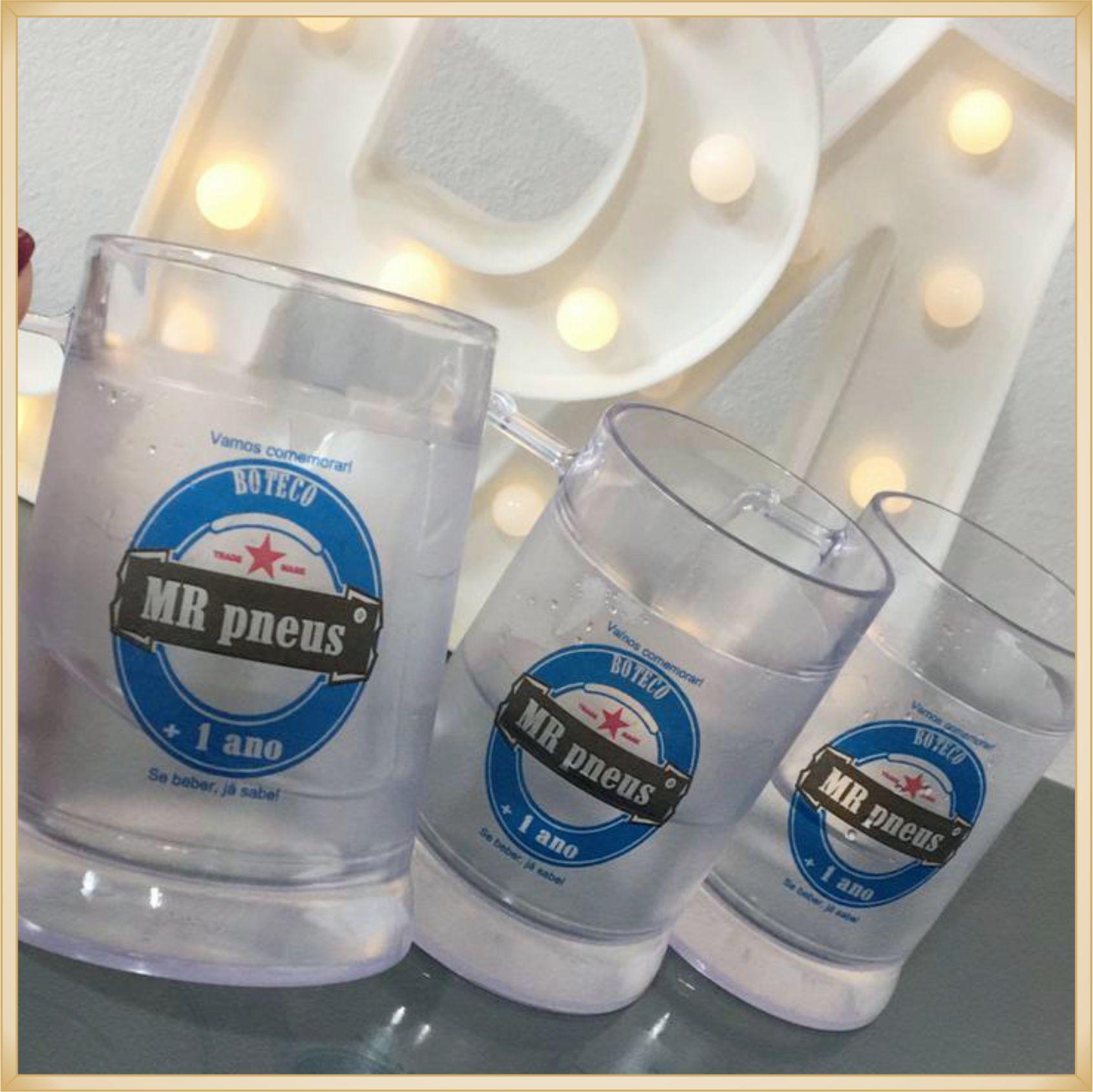 Canecas de gel personalizadas empresa - acrílico qualidade, ótimo acabamento, sistema de congelamento, parede dupla, 340 ml. - kit 30 unidades