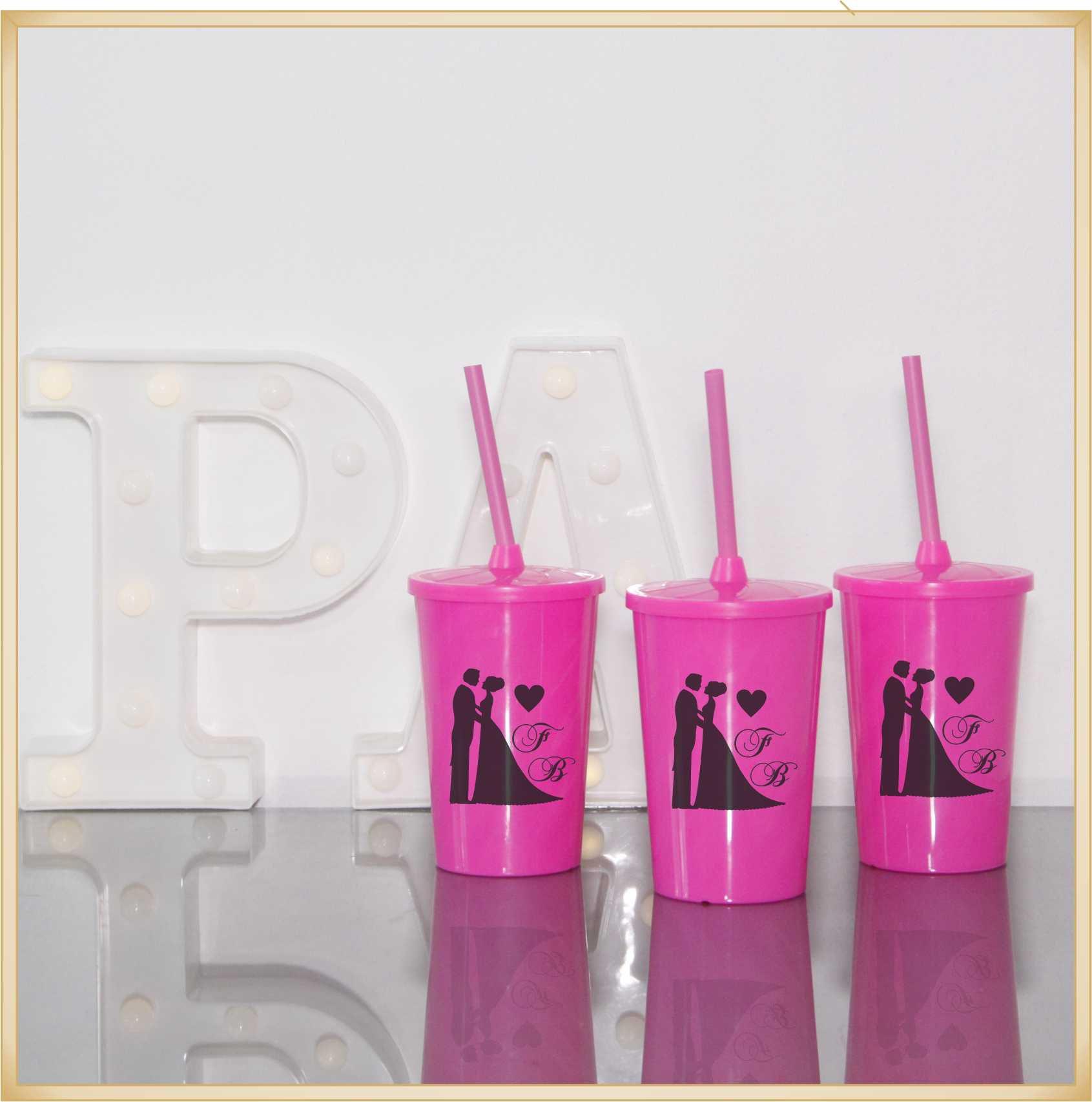 Copos com tampa para lembrancinha casamento brindes personalizados madrinhas noivas - Kit com 30 unidades