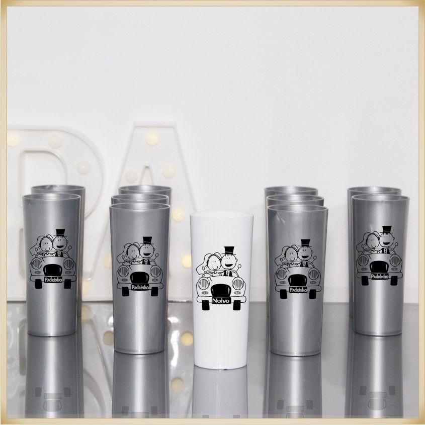 Copos de lembrancinhas de casamento brindes para noivo e padrinhos - Kit com 11 unidades