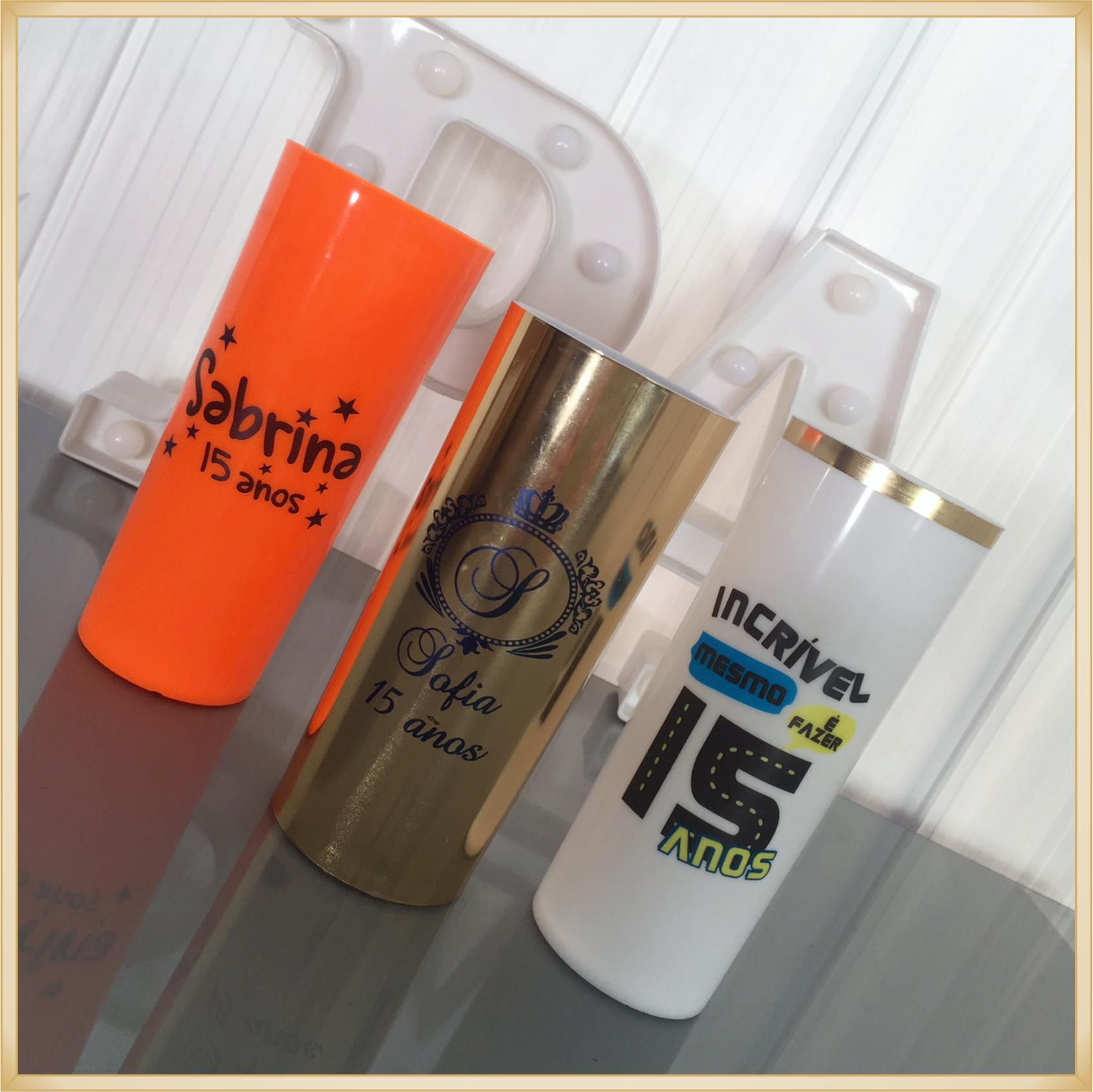 Copo long Drink Personalizado 15 anos - estampas de qualidade, brilhante, ótimo acabamento, parede de 2,5 mm, resistente, 325 ml.