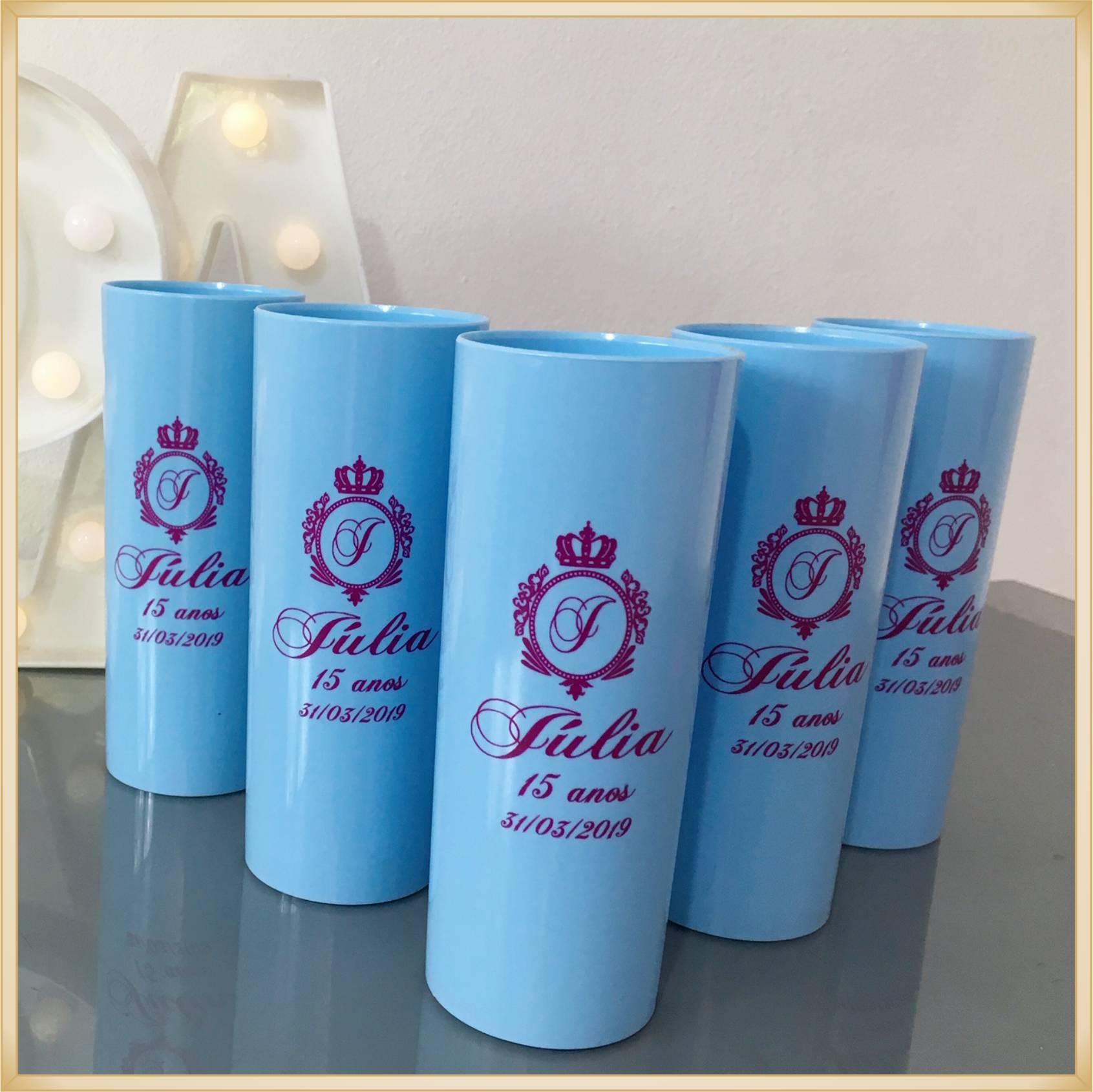 Copos long Drink Personalizados 15 anos - estampas de qualidade, brilhante, ótimo acabamento, parede de 2,5 mm, resistente, 325 ml. - Kit 100 unidades