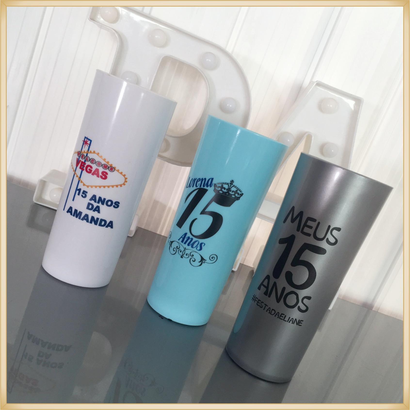 Copos long Drink Personalizados 15 anos - estampas de qualidade, brilhante, ótimo acabamento, parede de 2,5 mm, resistente, 325 ml. - Kit 50 unidades