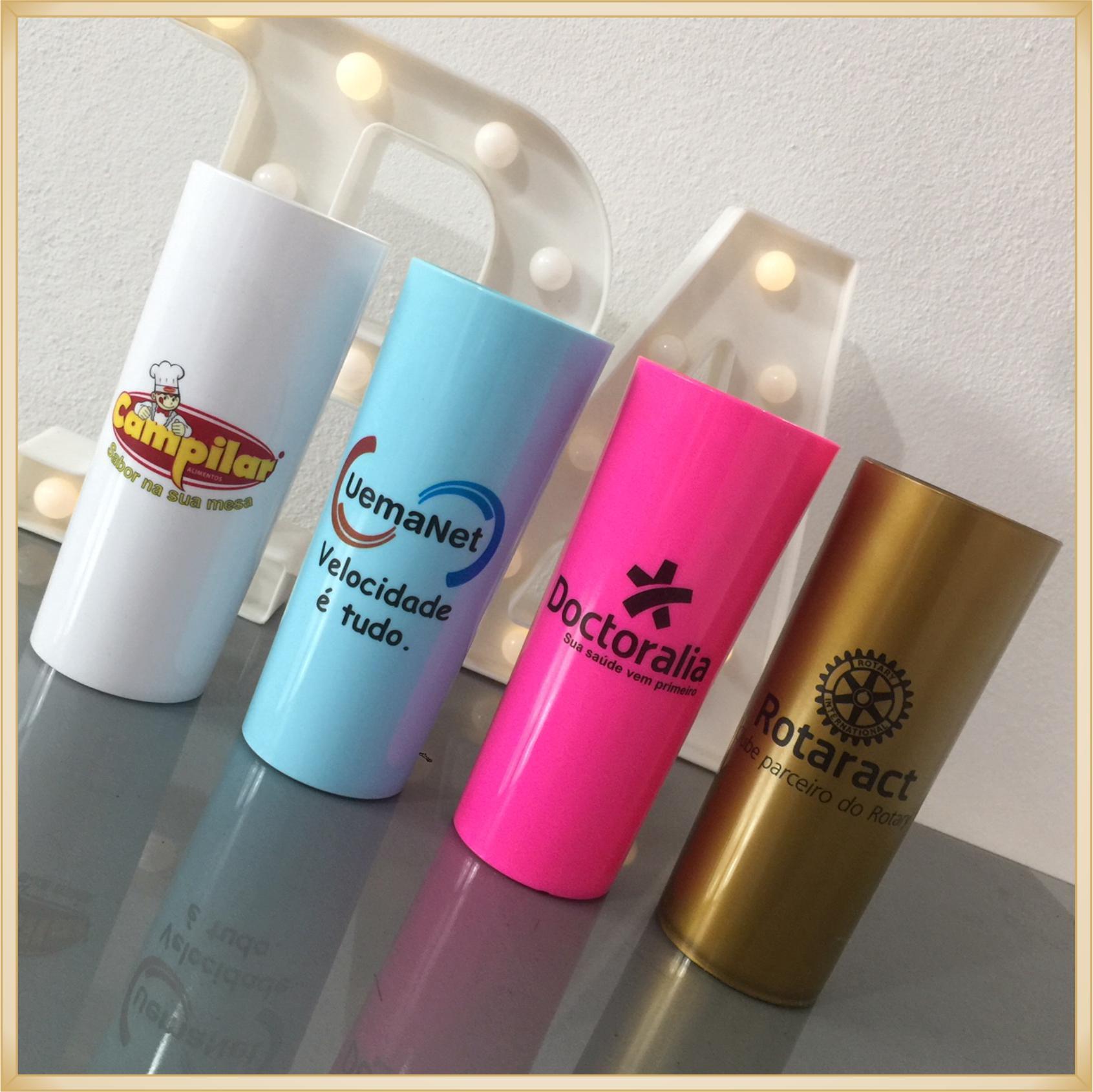 Copos long Drink Personalizados empresas - estampas de qualidade, brilhante, ótimo acabamento, parede de 2,5 mm, resistente, 325 ml.  kit 50 unidades