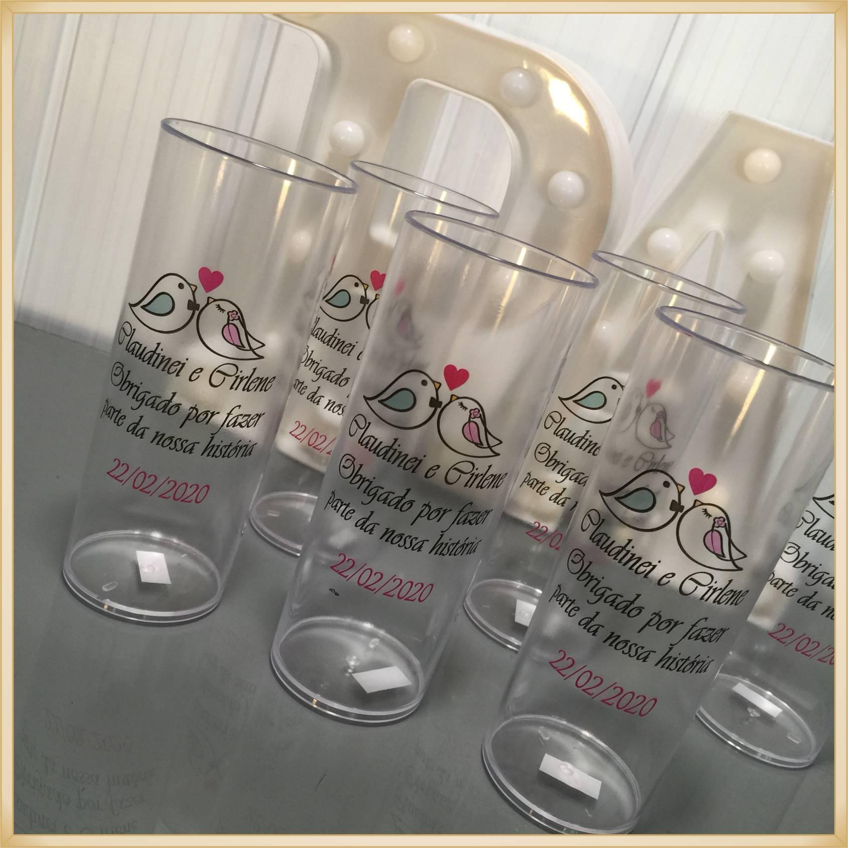 Copos long Drink Personalizados para casamento - estampas de qualidade, brilhante, ótimo acabamento, parede de 2,5mm, resistente, 325ml. kit 50 unid.