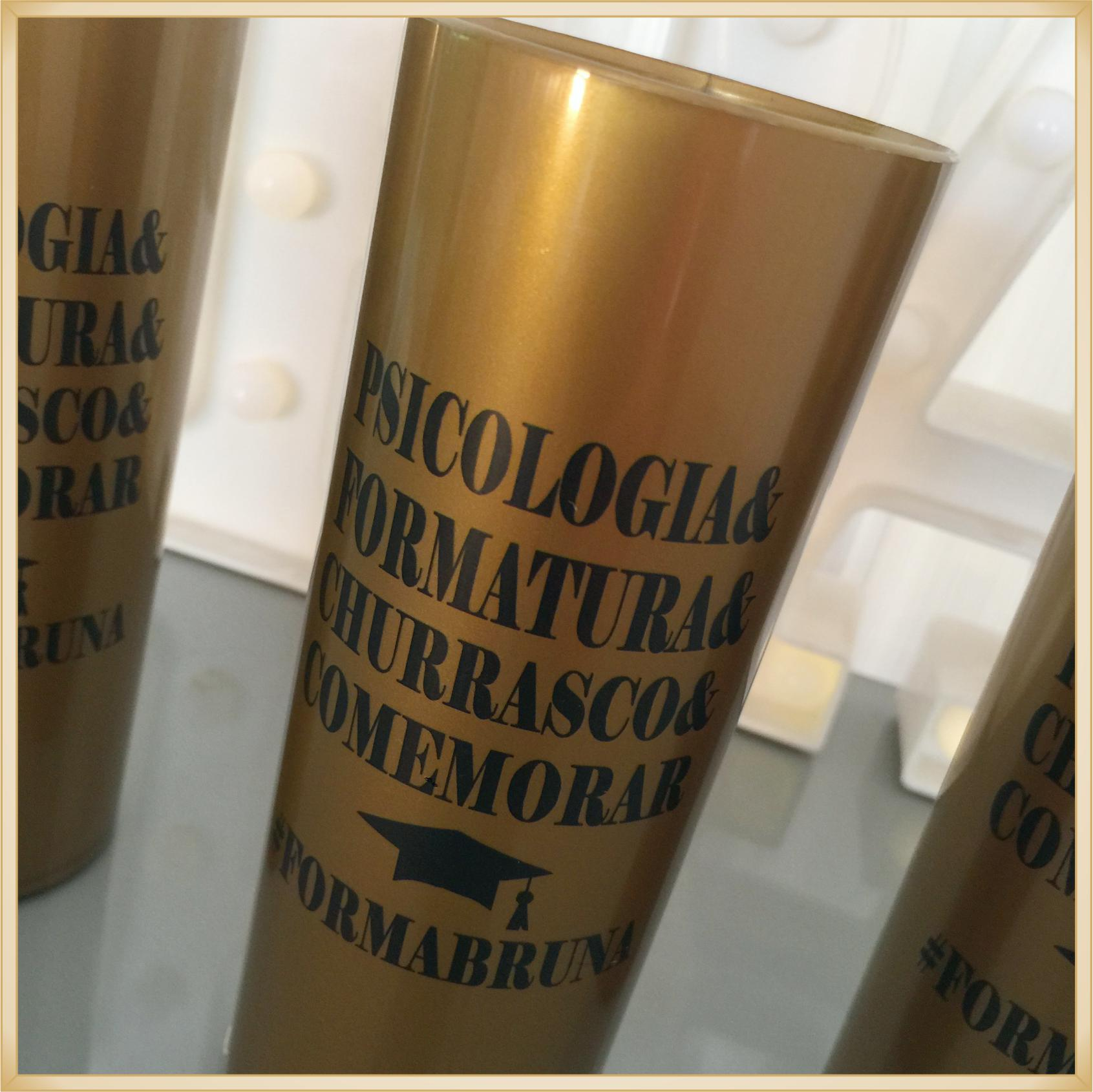 Copos long Drink Personalizados para Formatura - estampa qualidade, brilhante, ótimo acabamento, parede 2,5 mm, resistente, 325 ml. kit 30 unidades