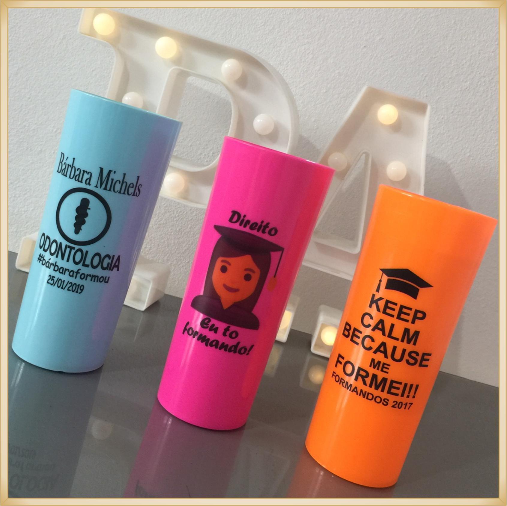 Copos Long drink personalizados para formatura - kit com 30
