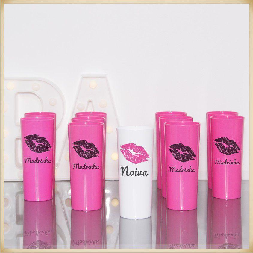 Copos para lembrancinhas de casamento brindes para Noiva e Madrinhas - Kit com 11 unidades
