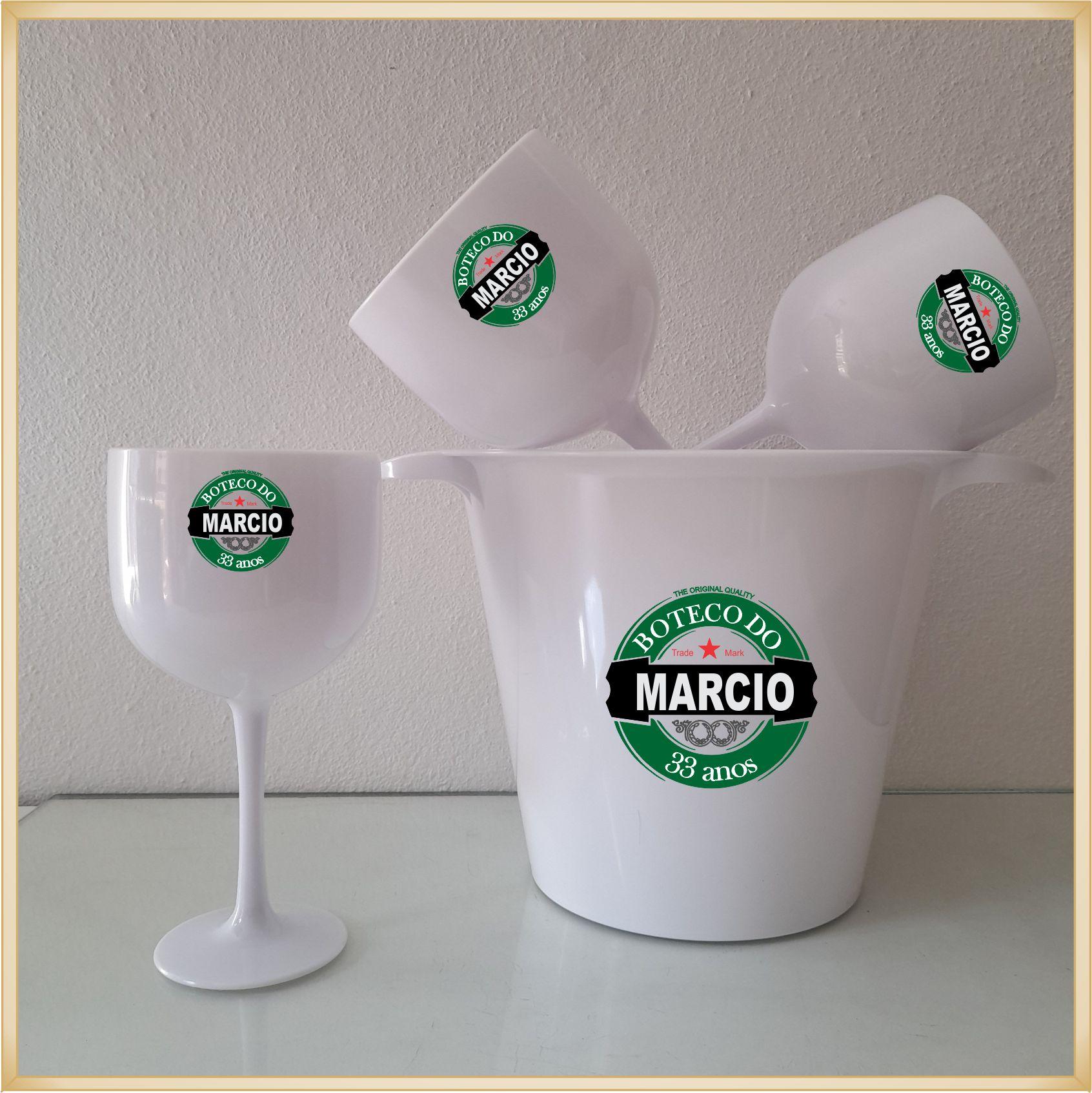 Kit Balde de gelo + 4 Taças de gin personalizadas - Produto de alta qualidade, paredes reforçadas sem riscos e rebarbas, estampa digital e colorida