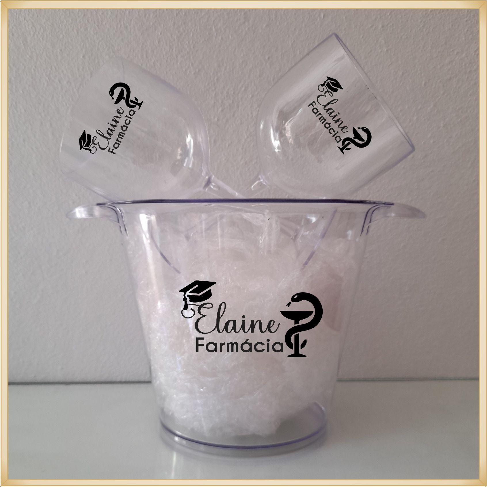 Kit Balde de gelo + Taças de gin personalizadas - Produto de alta qualidade, paredes reforçadas sem riscos e rebarbas, estampa digital e colorida