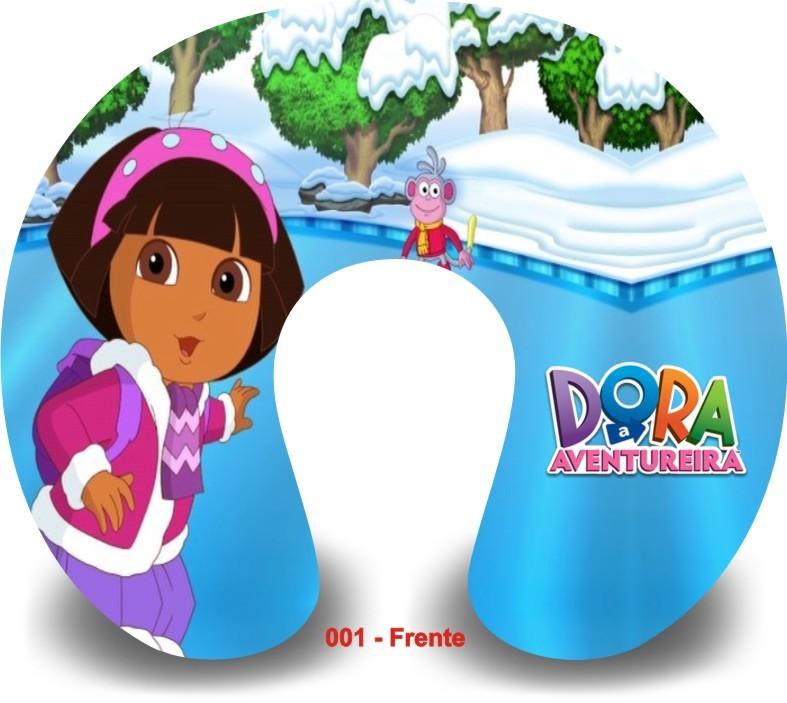 Kit com 10 Almofadas de Pescoço Lembrancinha Personalizada Dora Aventureira