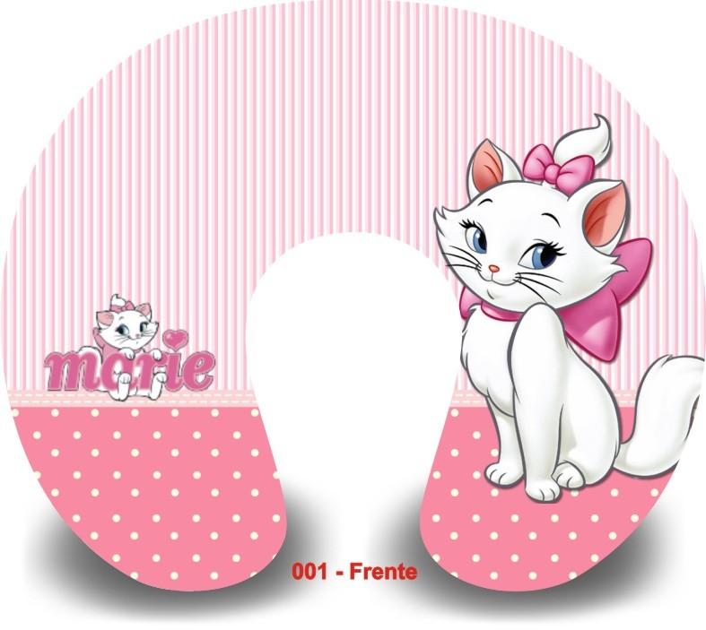 Kit com 10 Almofadas de Pescoço Lembrancinha Personalizada Gatinha Marie