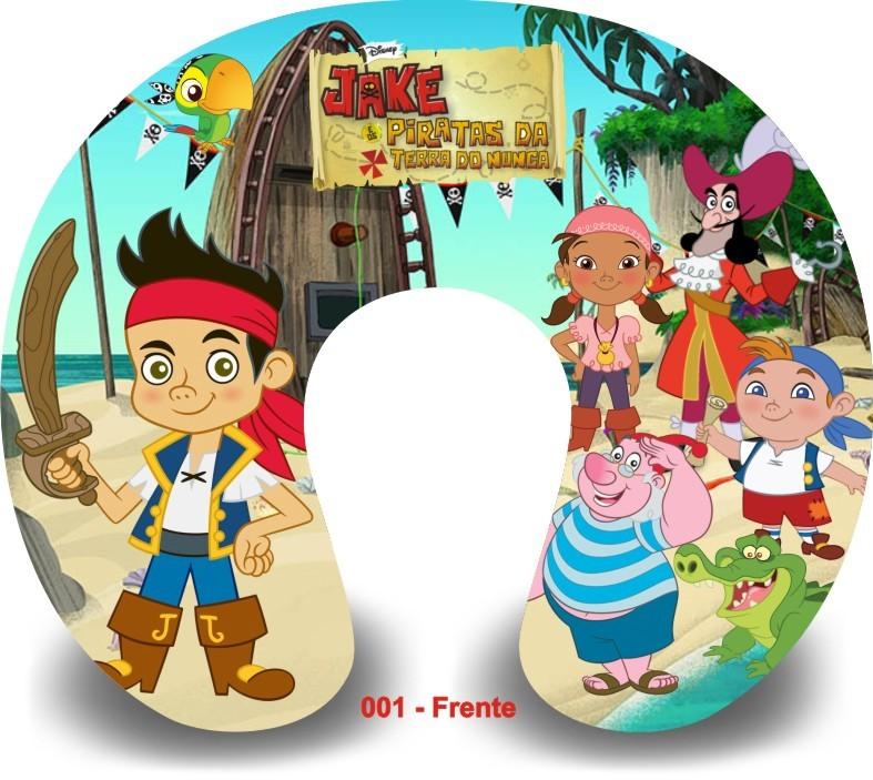 Kit com 10 Almofadas de Pescoço Lembrancinha Personalizada Jake e os Piratas